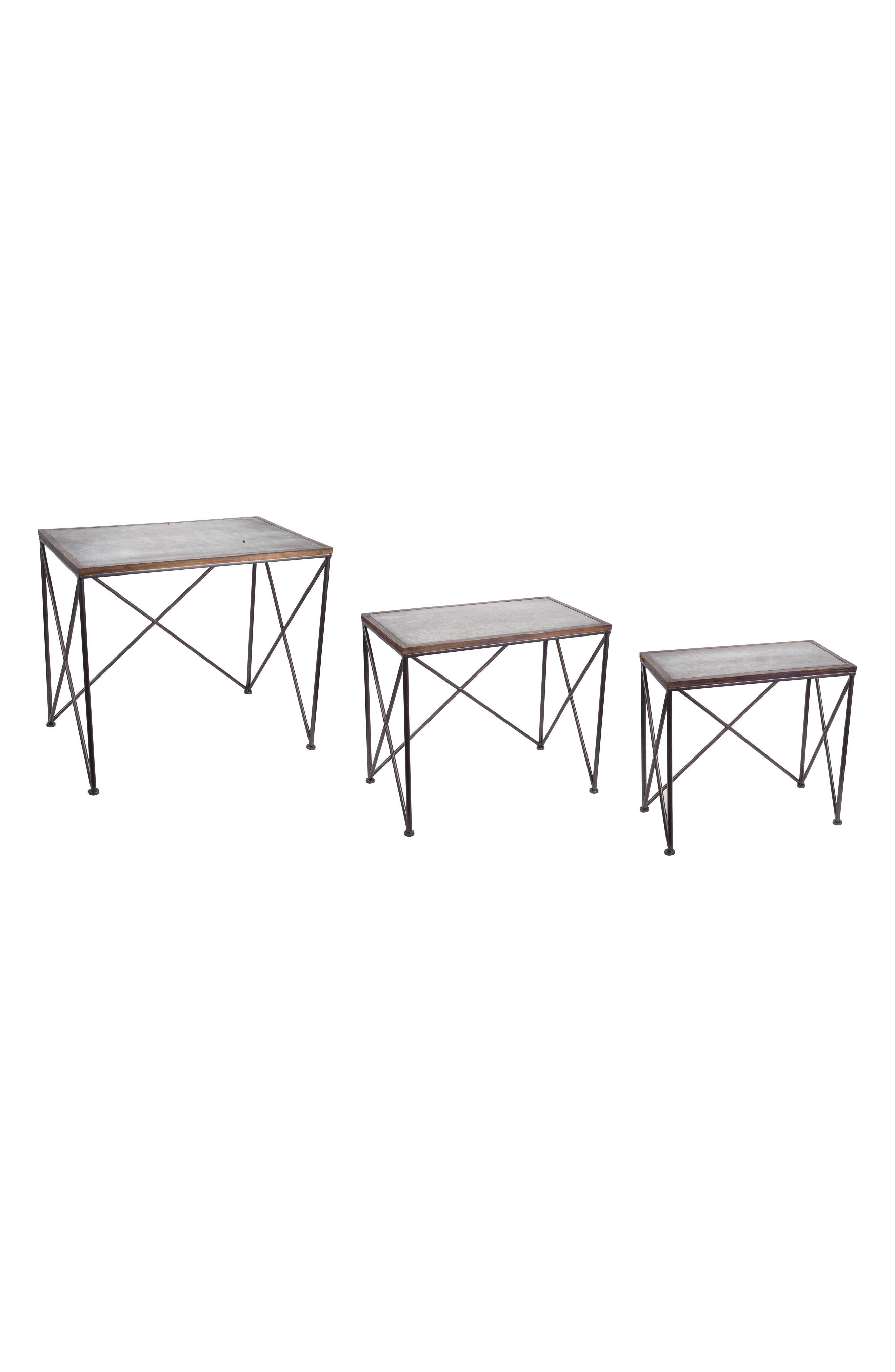 Set of 3 Accent Tables,                         Main,                         color, BROWN