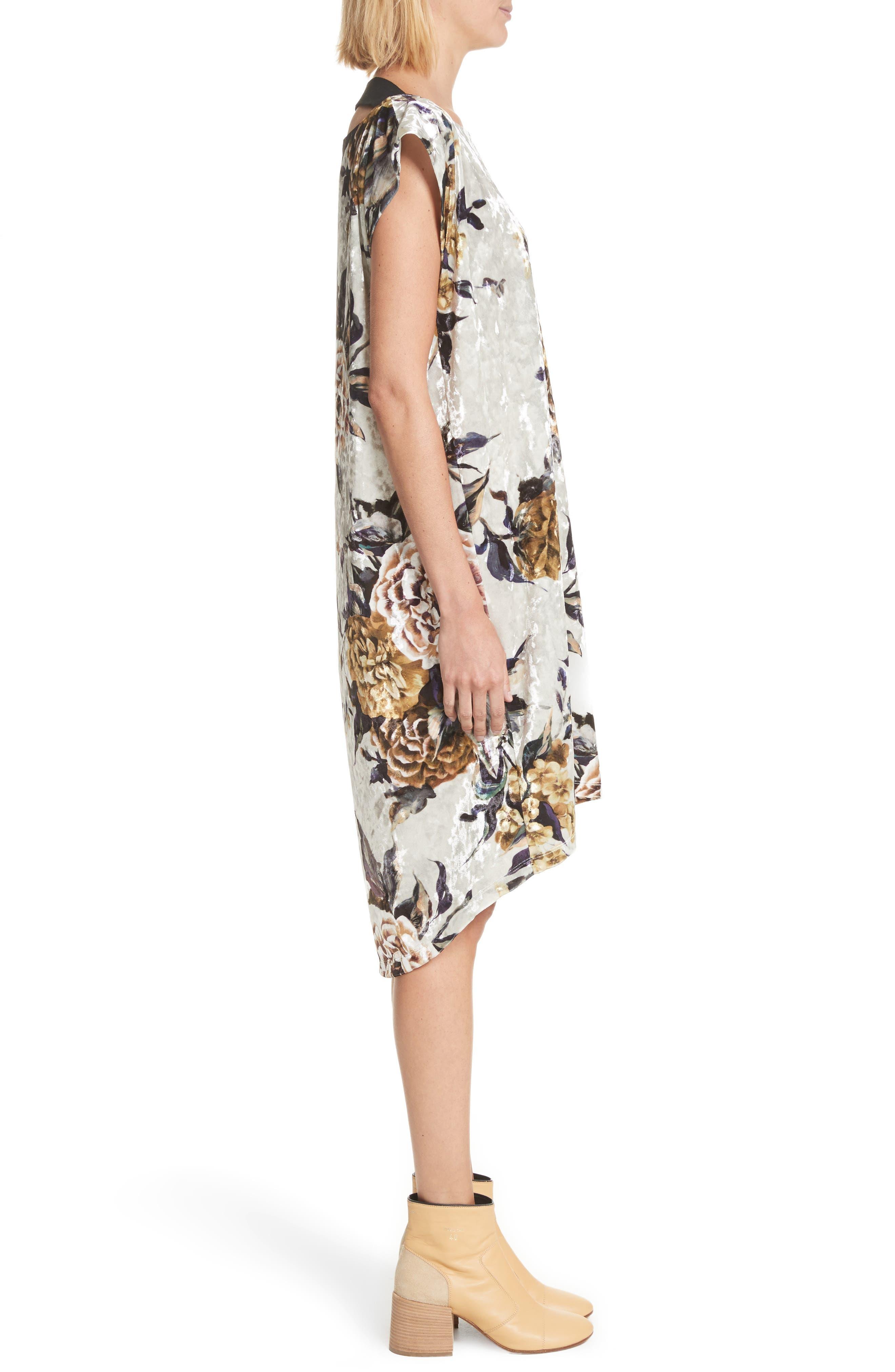 Floral Print Velvet Dress,                             Alternate thumbnail 3, color,                             087