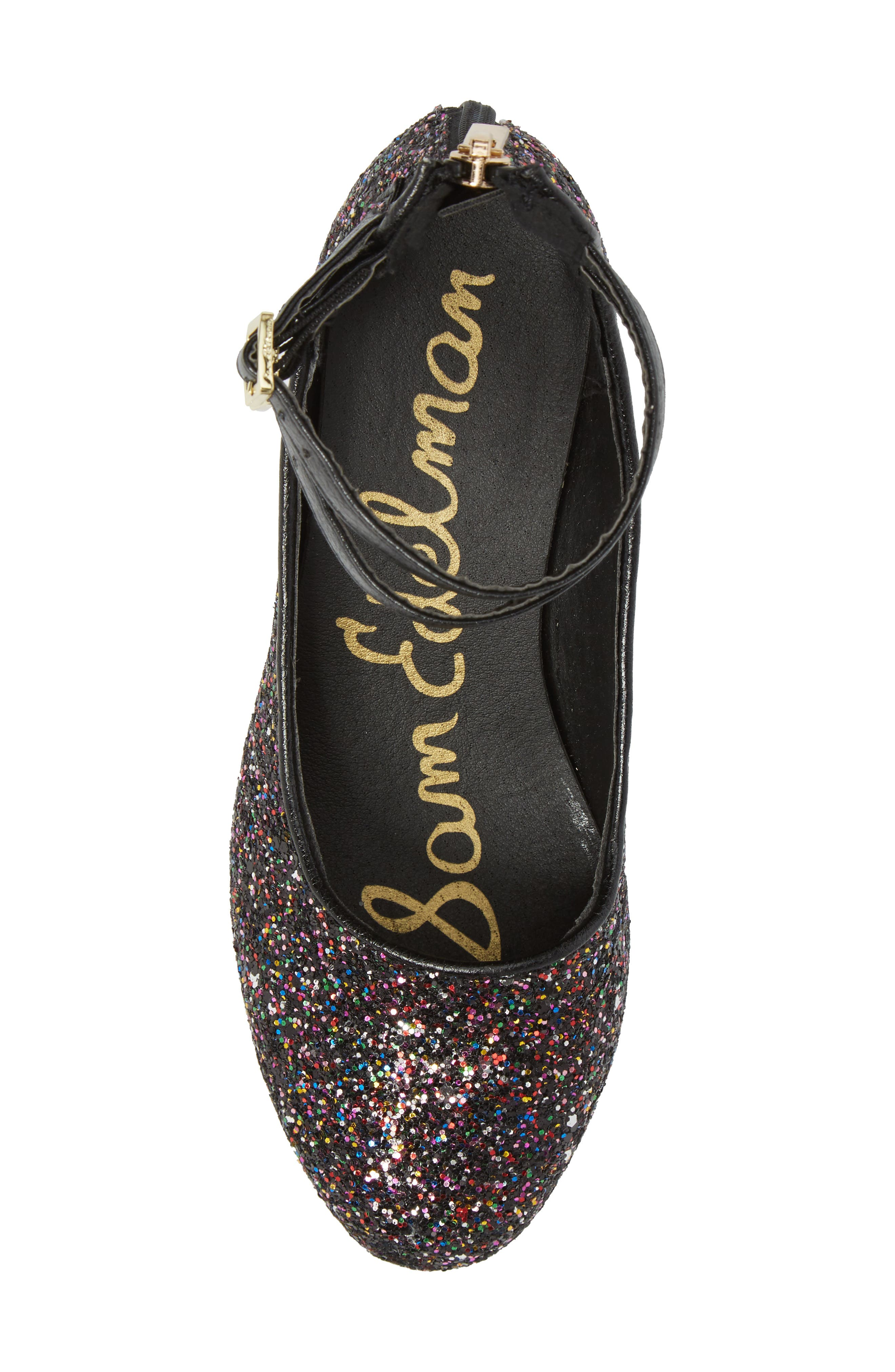 Evelyn Bree Ankle Strap Glitter Pump,                             Alternate thumbnail 5, color,                             001