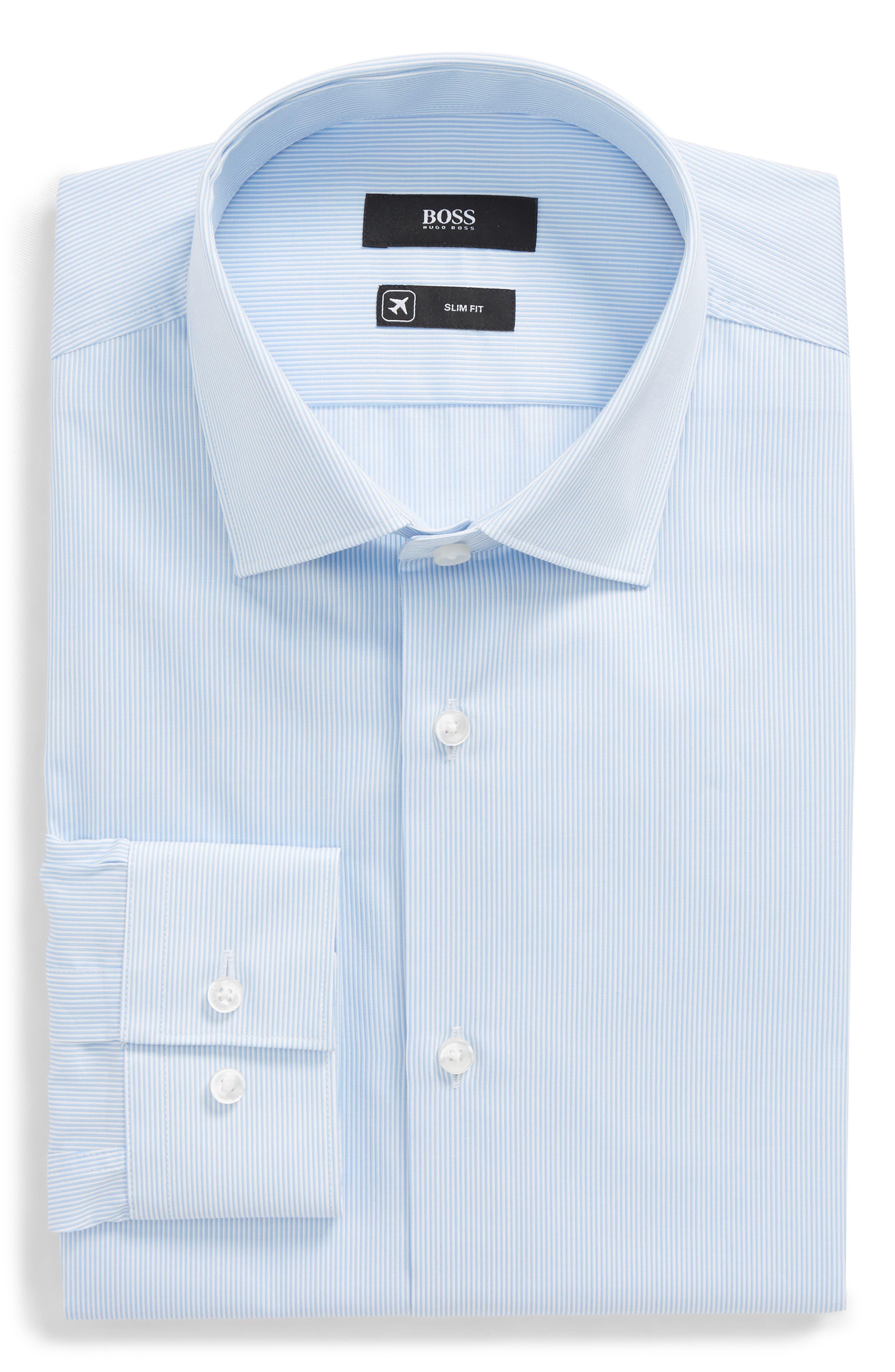 Ismo Slim Fit Stripe Dress Shirt,                             Main thumbnail 1, color,