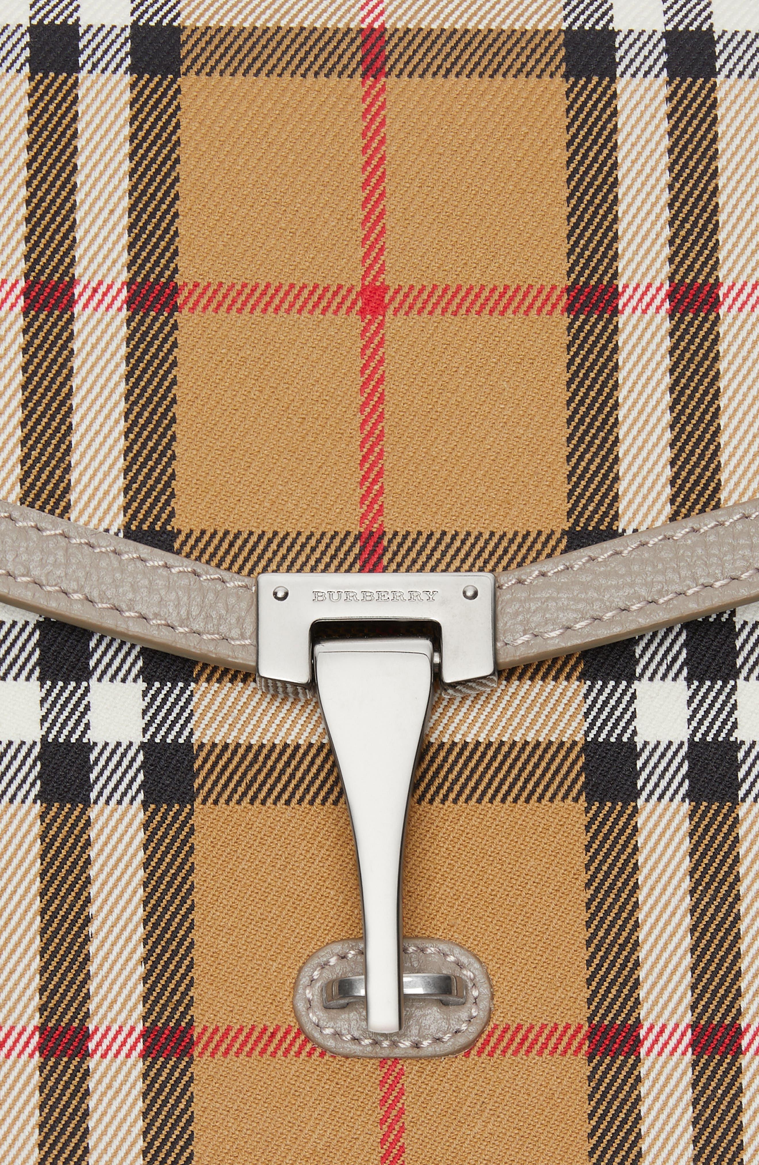 Small Macken Vintage Check Crossbody Bag,                             Alternate thumbnail 6, color,                             TAUPE BROWN