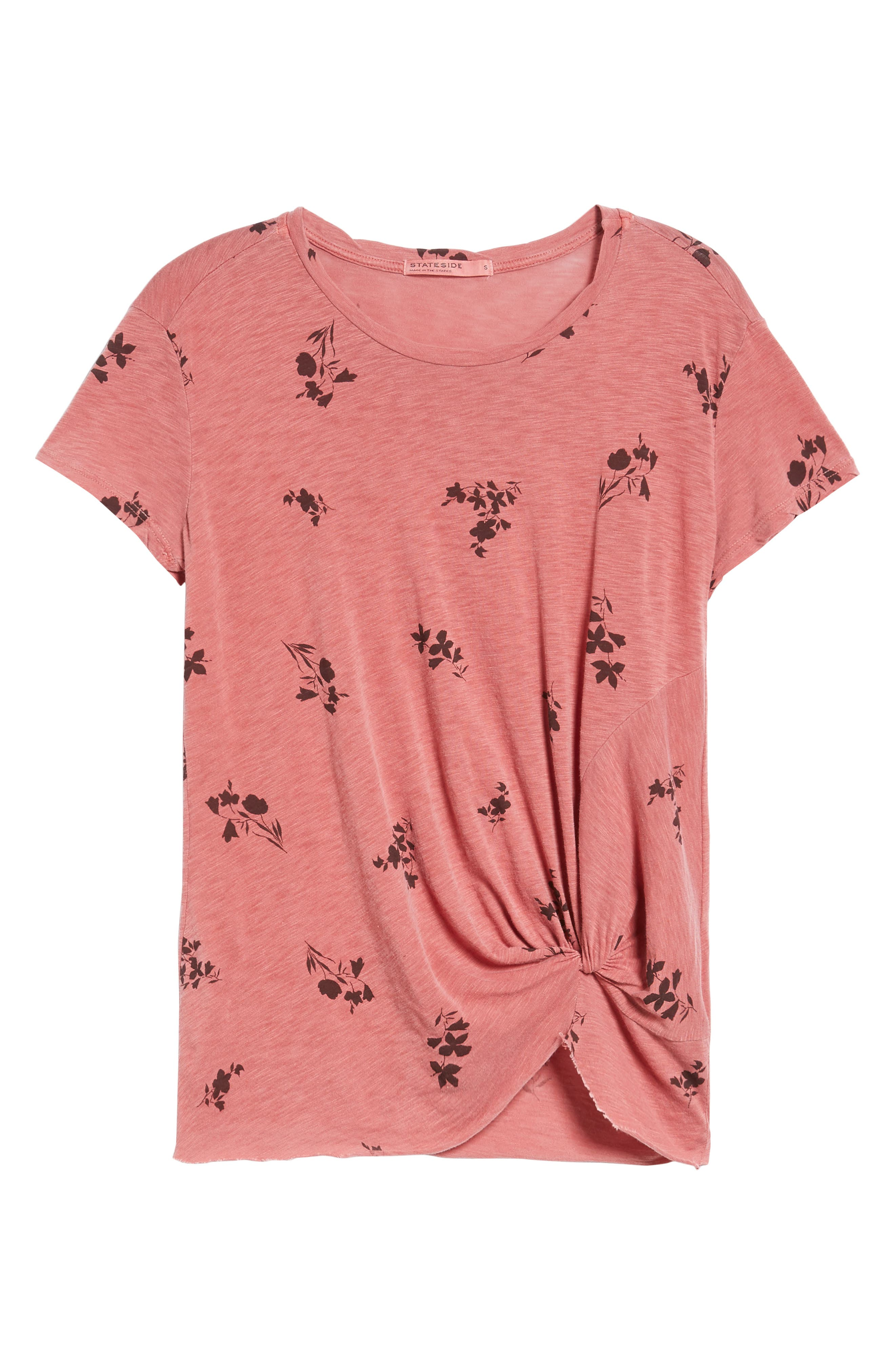 Wine Floral Twist Front Tee,                             Alternate thumbnail 6, color,                             616