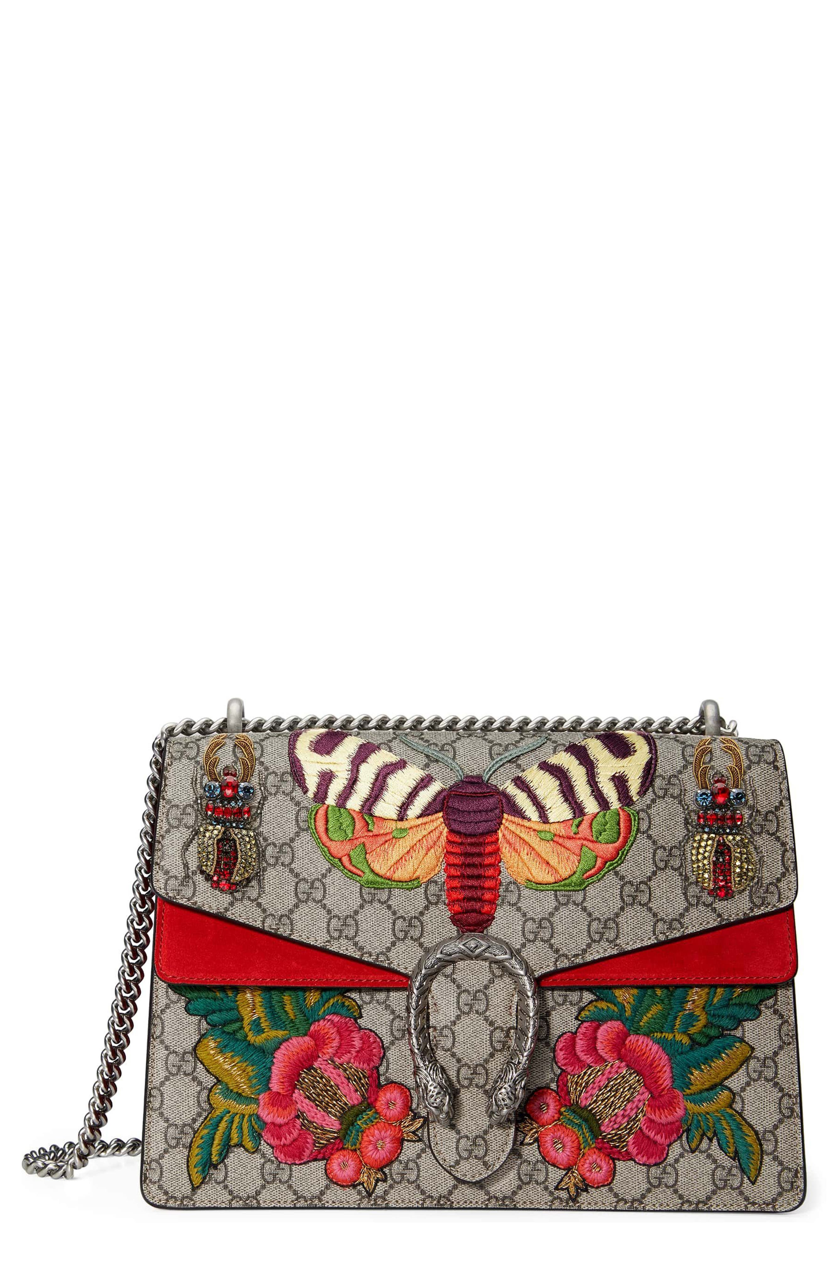GUCCI,                             Medium Dionysus Embroidered GG Supreme Canvas & Suede Shoulder Bag,                             Main thumbnail 1, color,                             280