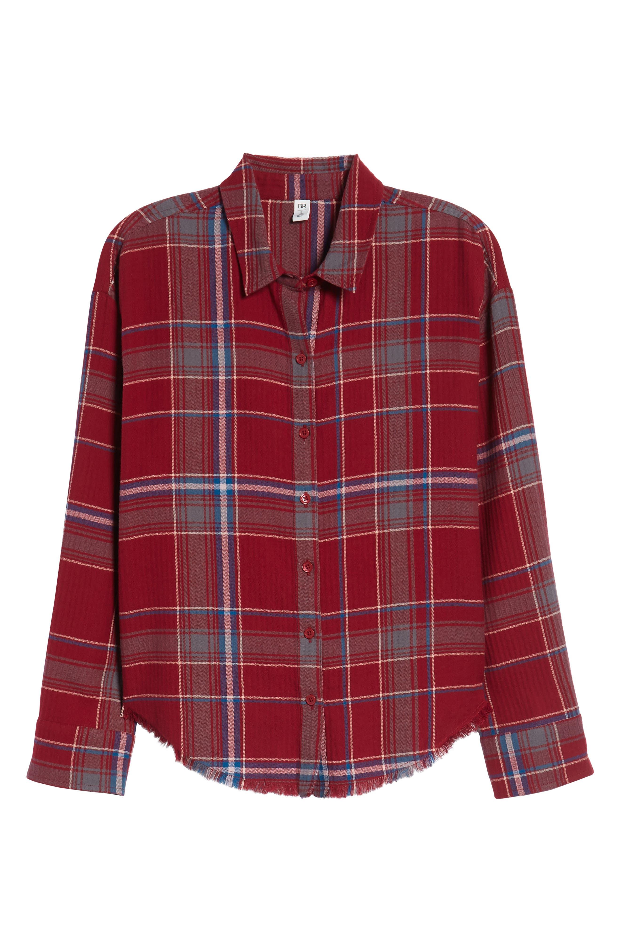 Frayed Edge Plaid Shirt,                             Alternate thumbnail 8, color,                             RED RUMBA NICOLE PLAID