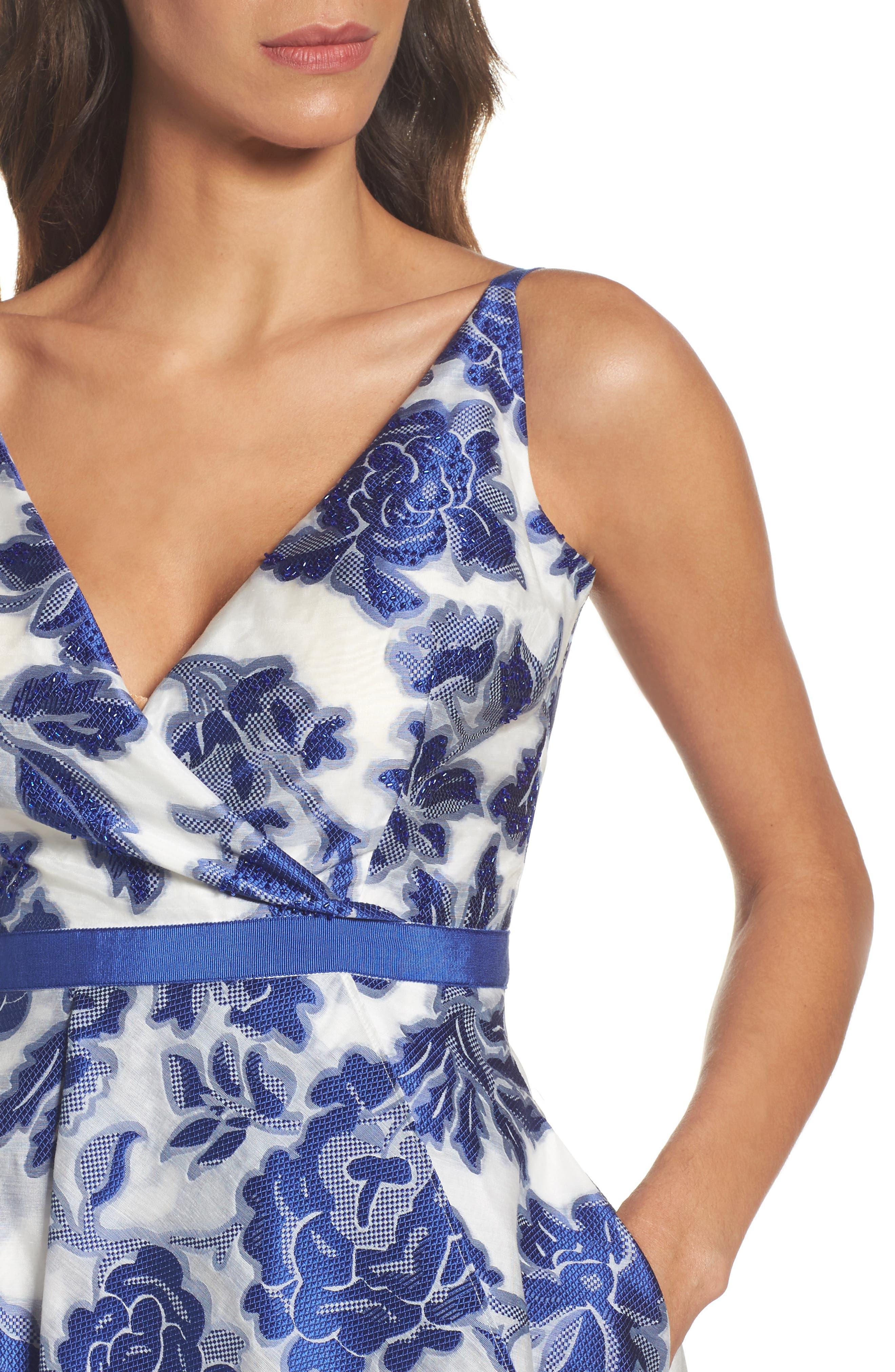 Burnout Jacquard Fit & Flare Dress,                             Alternate thumbnail 4, color,                             480