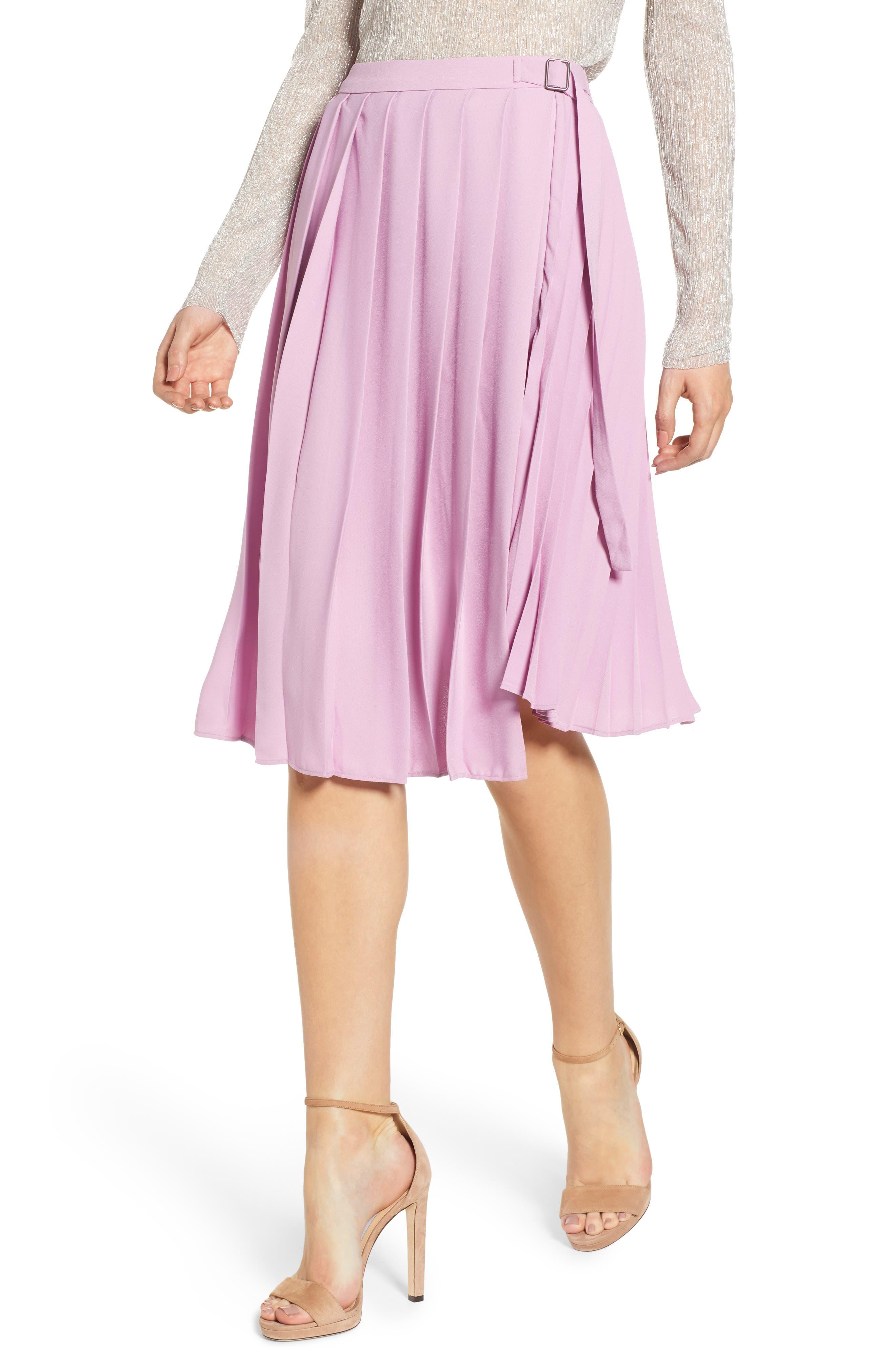 Leith Asymmetrical Pleated Faux Wrap Skirt, Purple