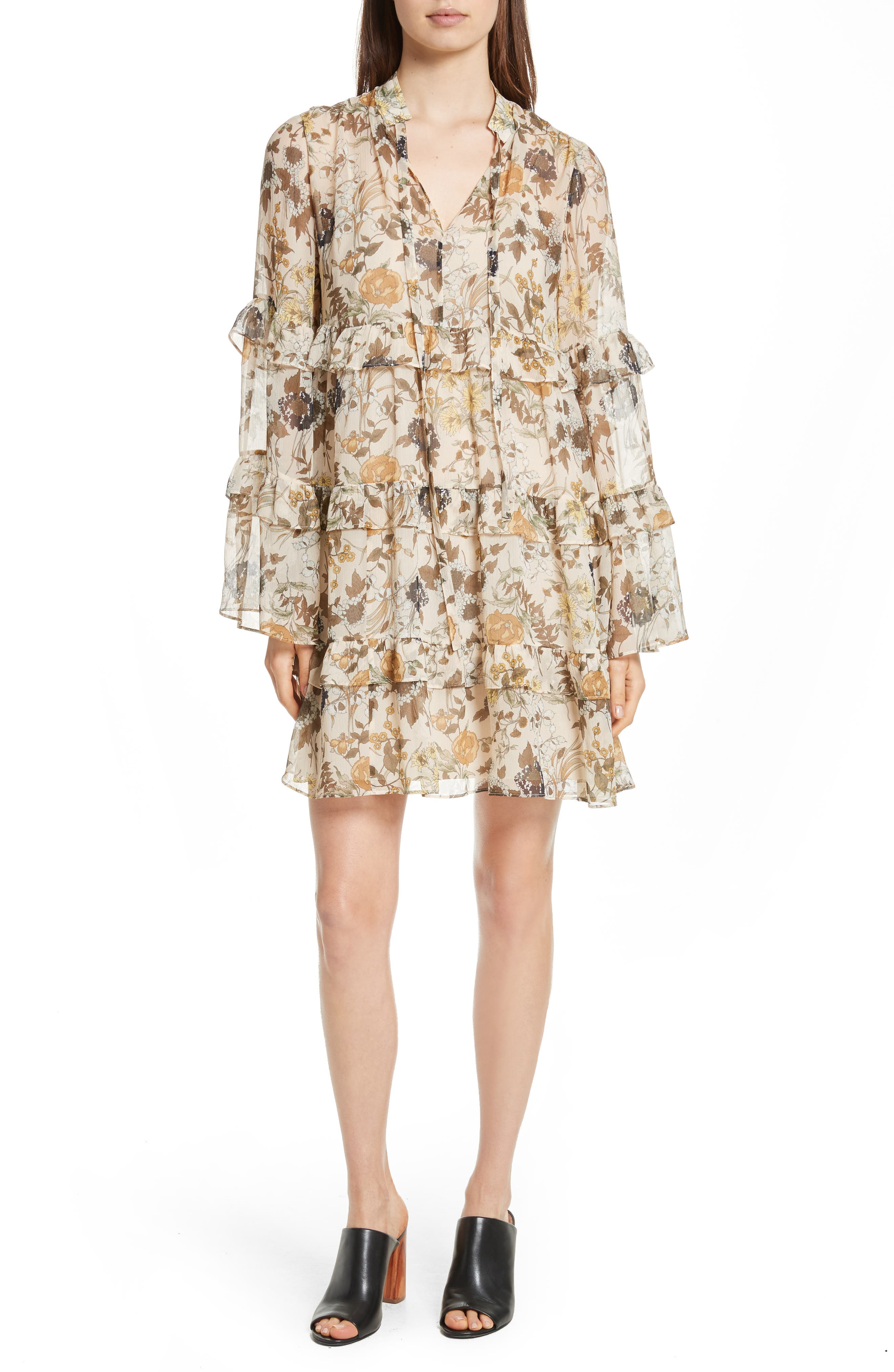 Tiered Ruffle Silk Dress,                             Main thumbnail 1, color,
