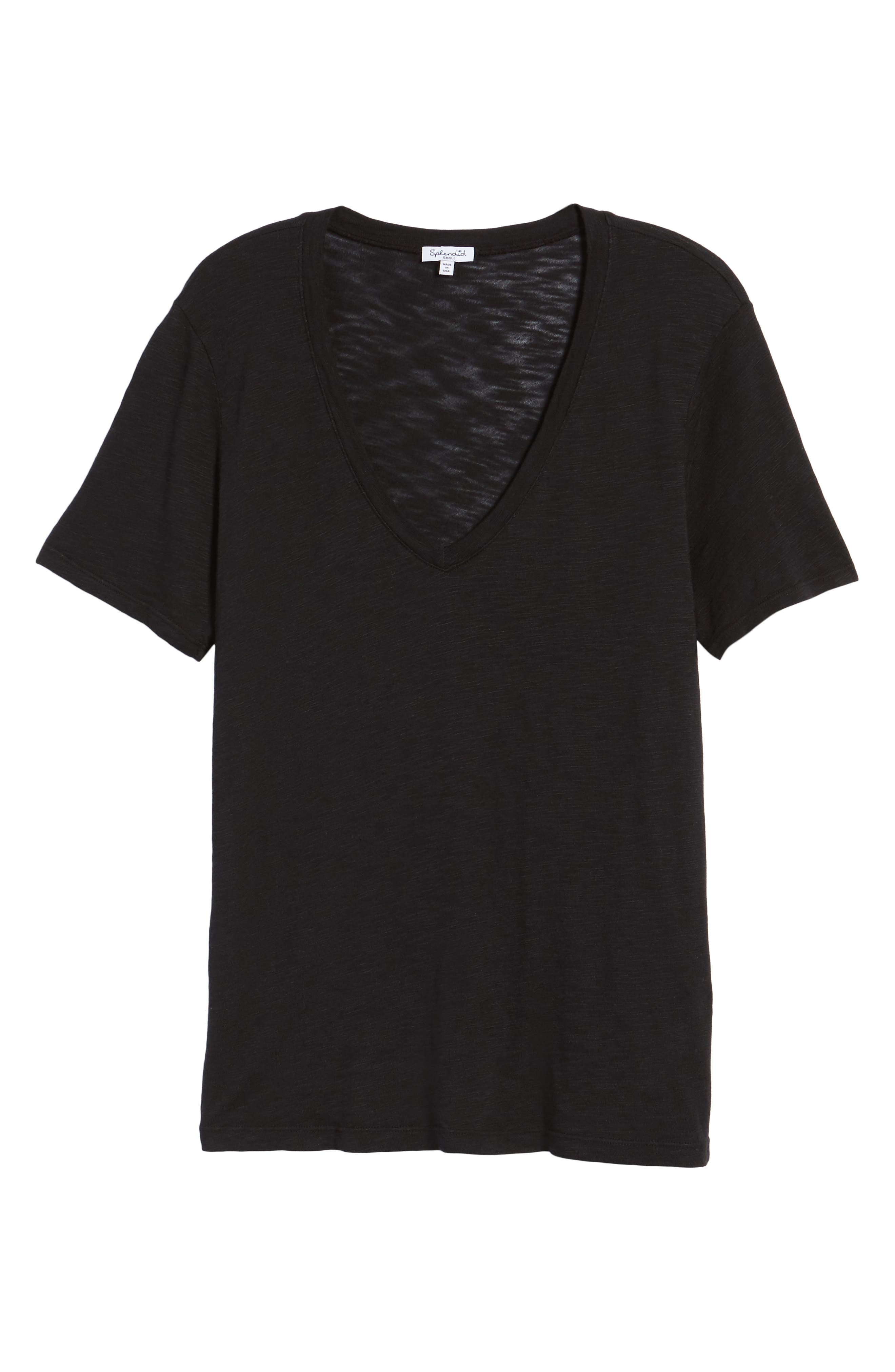 V-Neck Slub Jersey Tee,                             Alternate thumbnail 6, color,                             BLACK