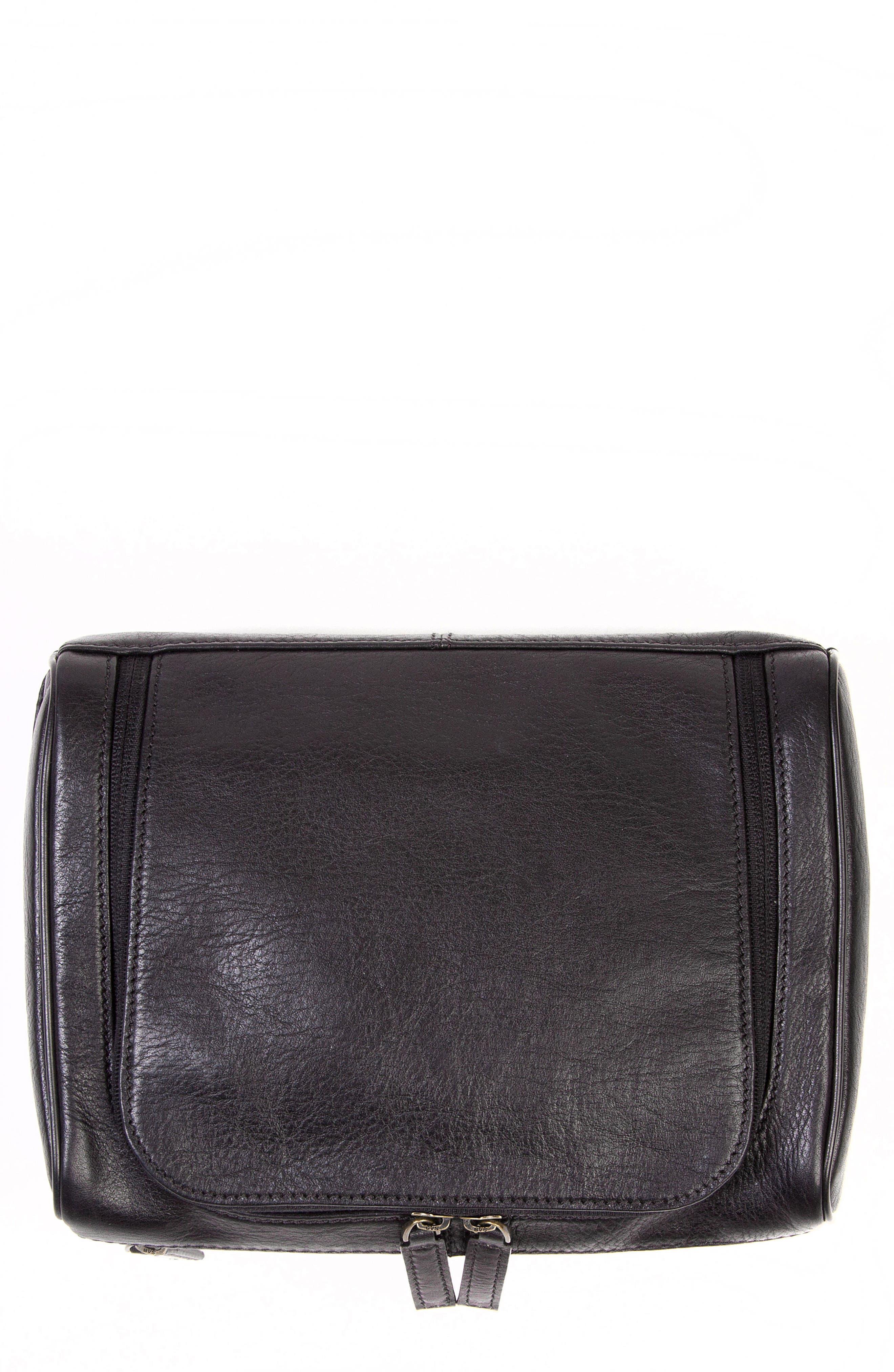Becker Leather Travel Kit,                             Main thumbnail 1, color,                             BLACK