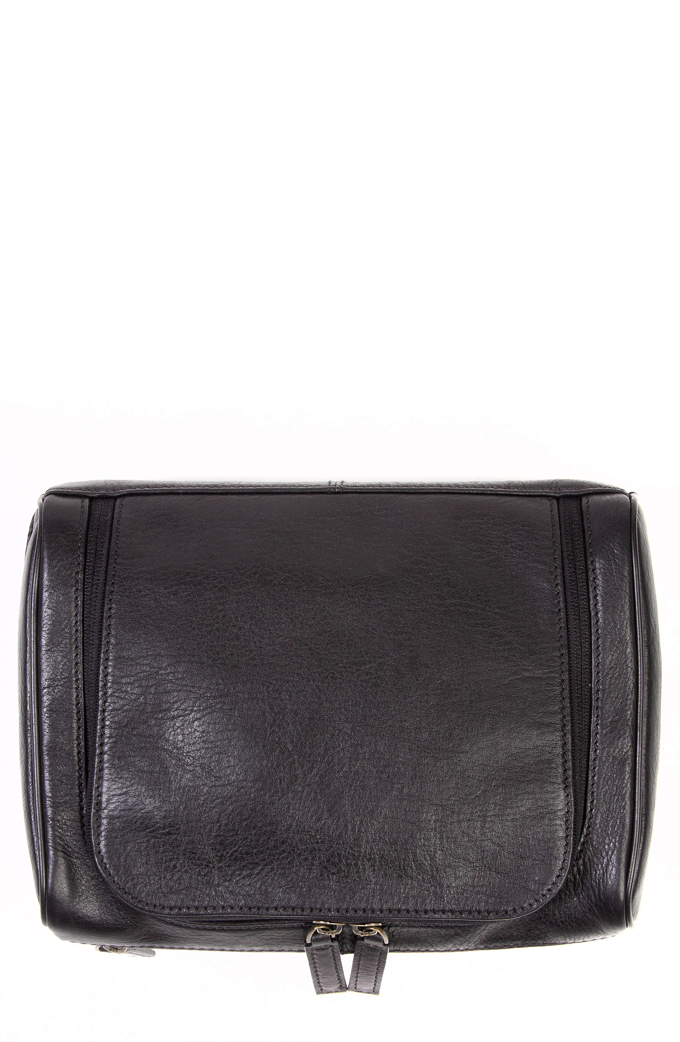Becker Leather Travel Kit,                         Main,                         color, BLACK