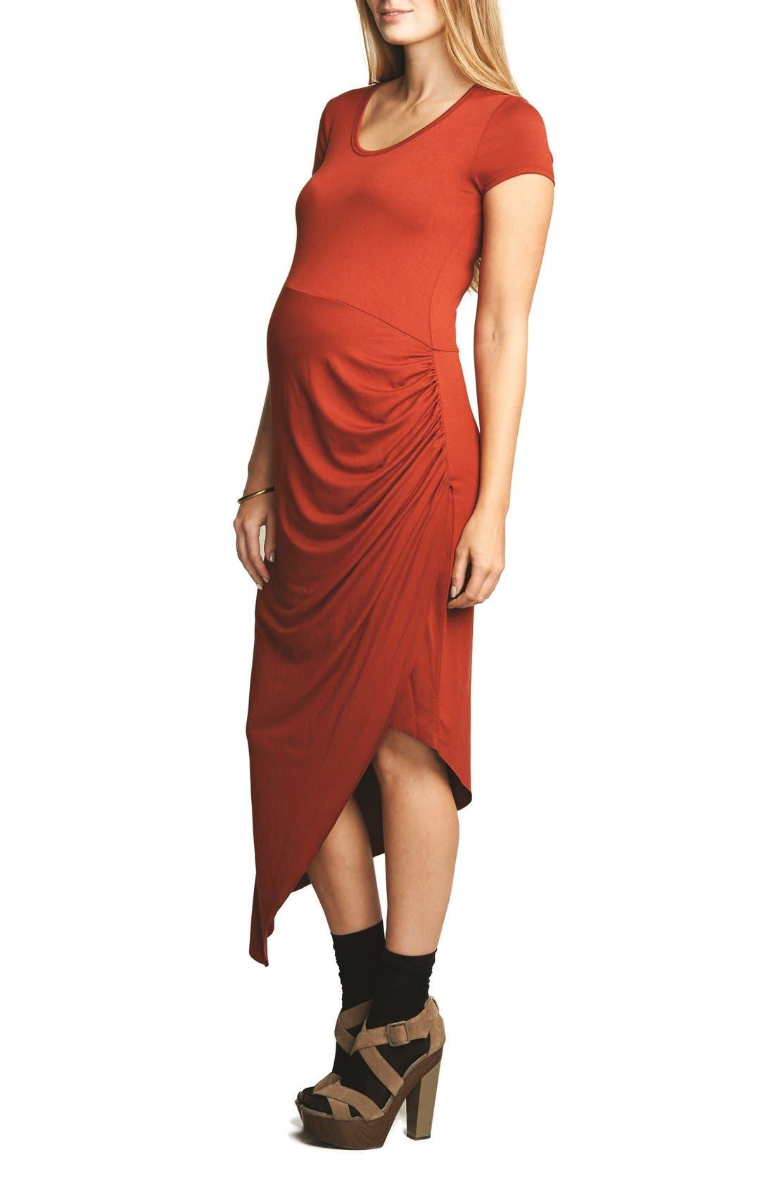 Draped Maternity Dress,                         Main,                         color, RUST