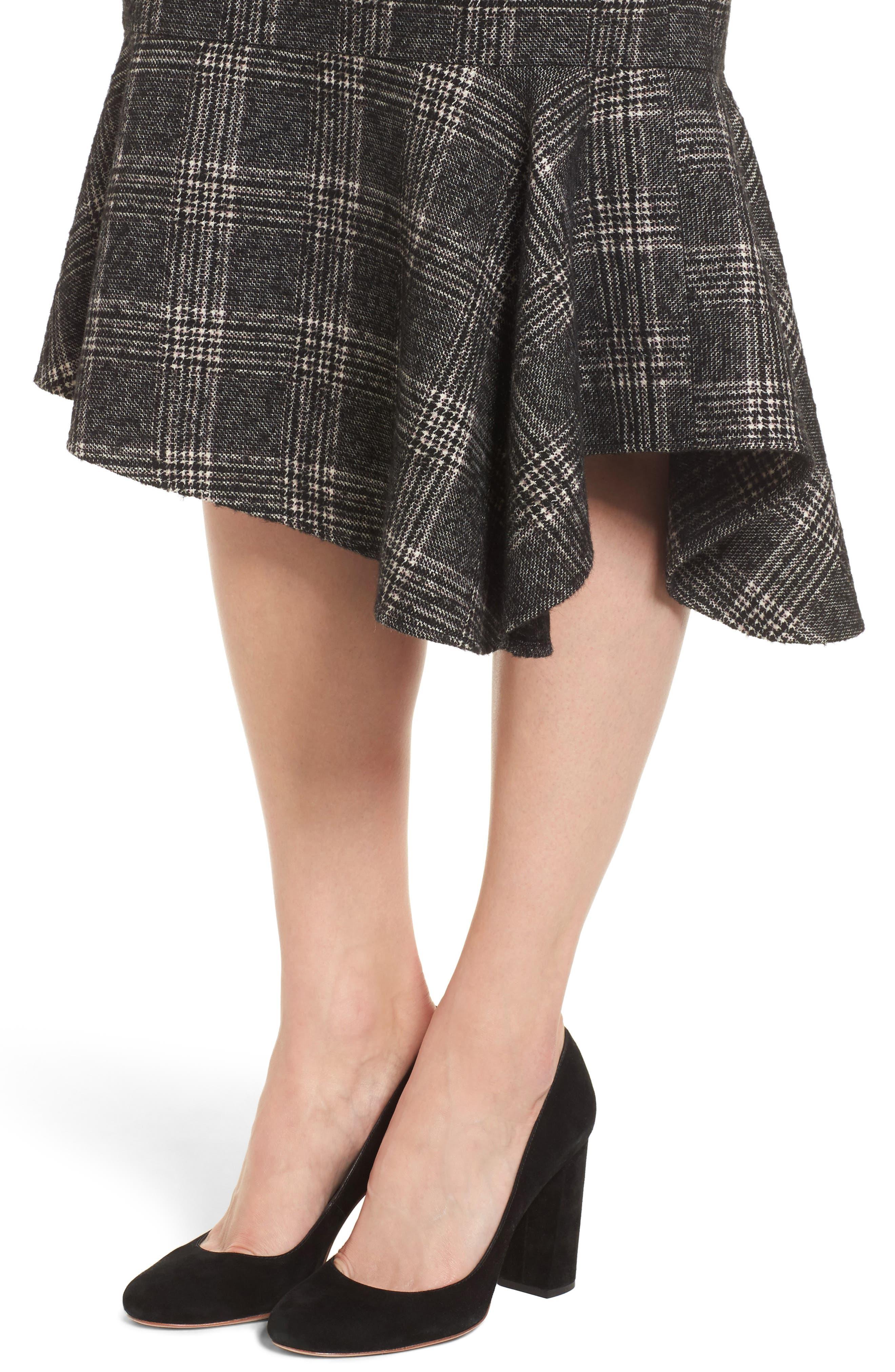 Asymmetrical Ruffle Hem Skirt,                             Alternate thumbnail 4, color,                             001