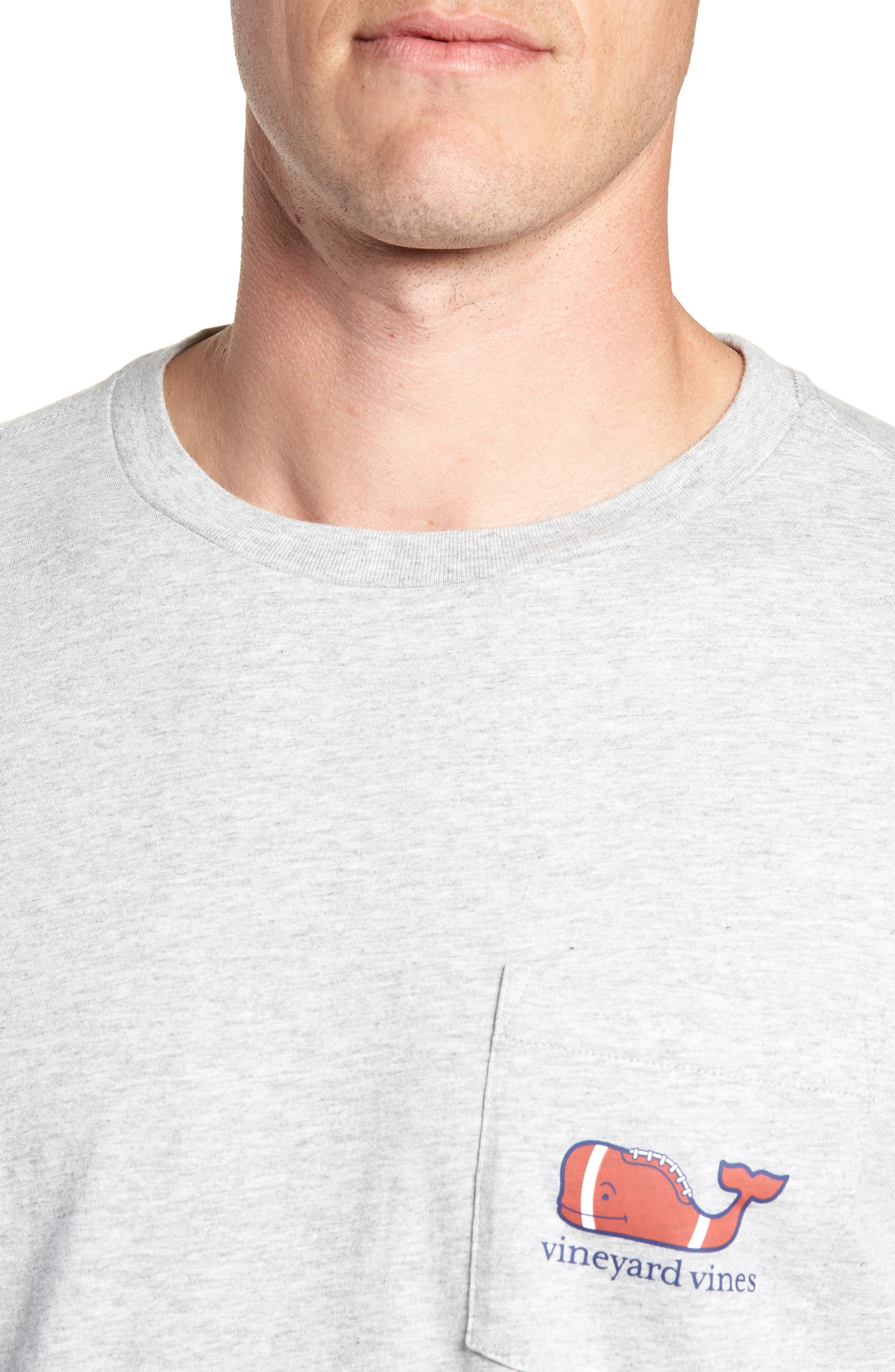 Football Whale Long Sleeve Pocket T-Shirt,                             Alternate thumbnail 4, color,                             GRAY HEATHER