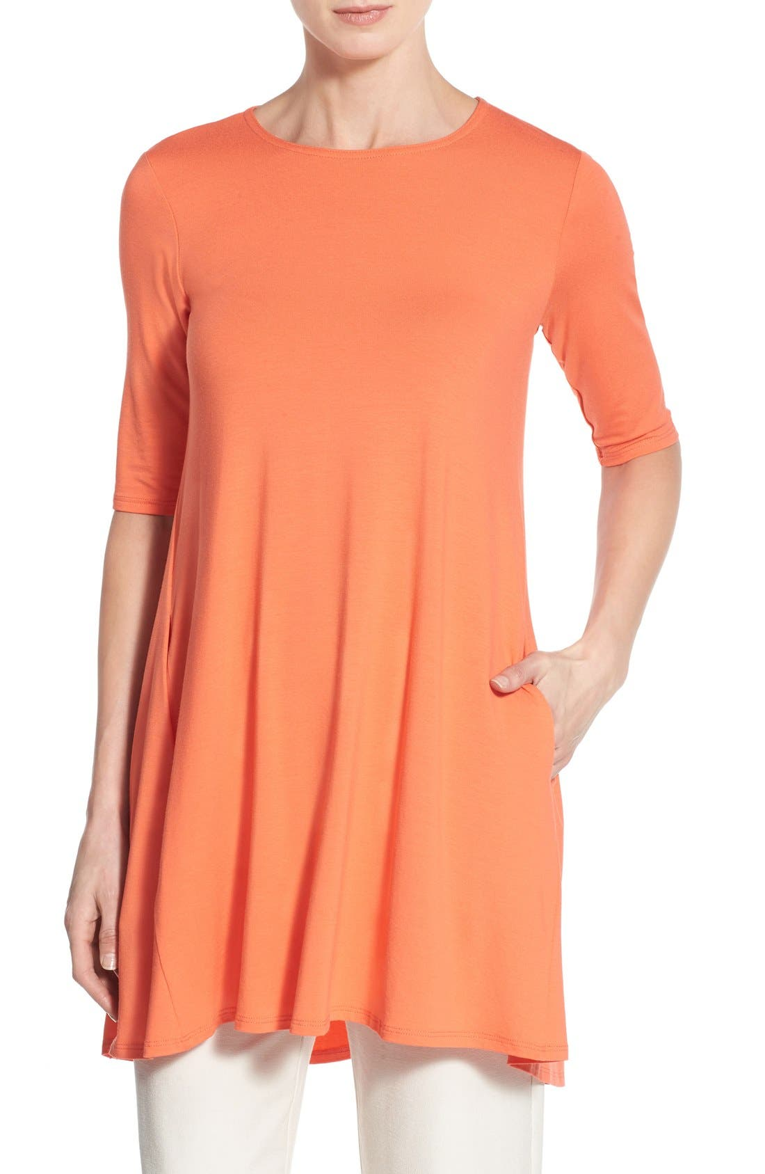 Lightweight Jersey Round Neck Tunic,                             Main thumbnail 6, color,