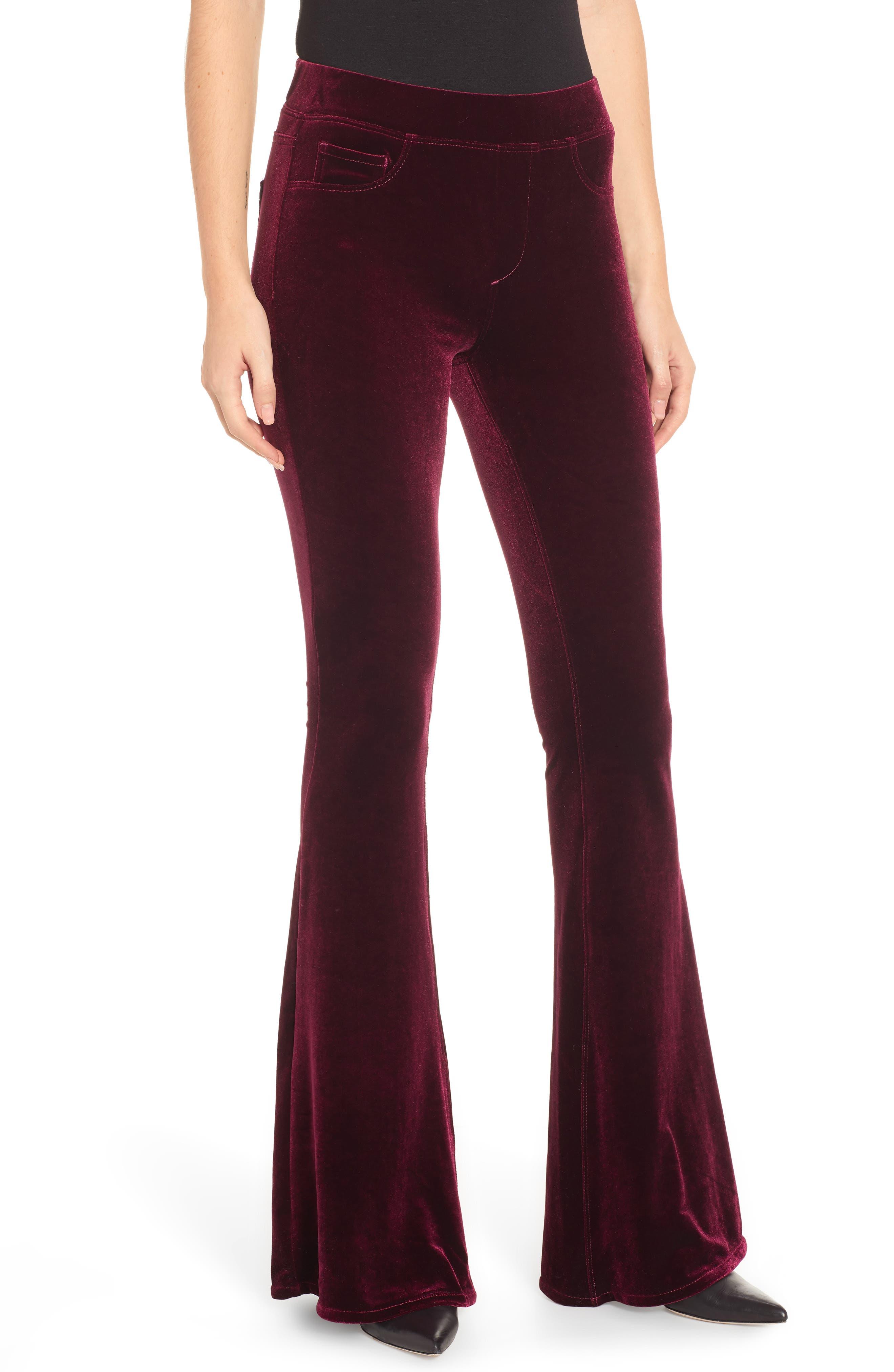 Blanknyc Velvet Flare Pants, Burgundy