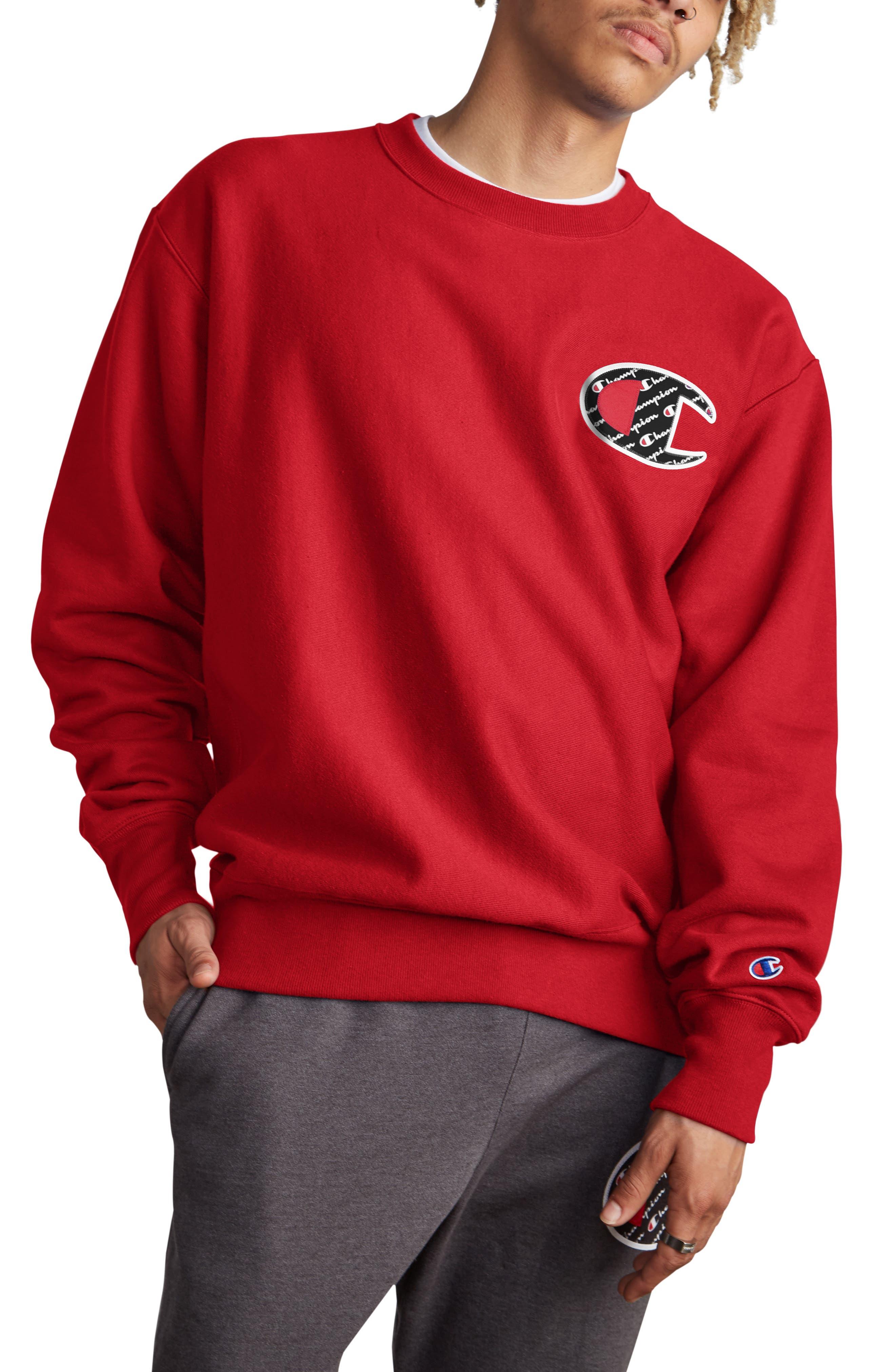 Sublimated Logo Crewneck Sweatshirt,                         Main,                         color, TEAM RED SCARLET