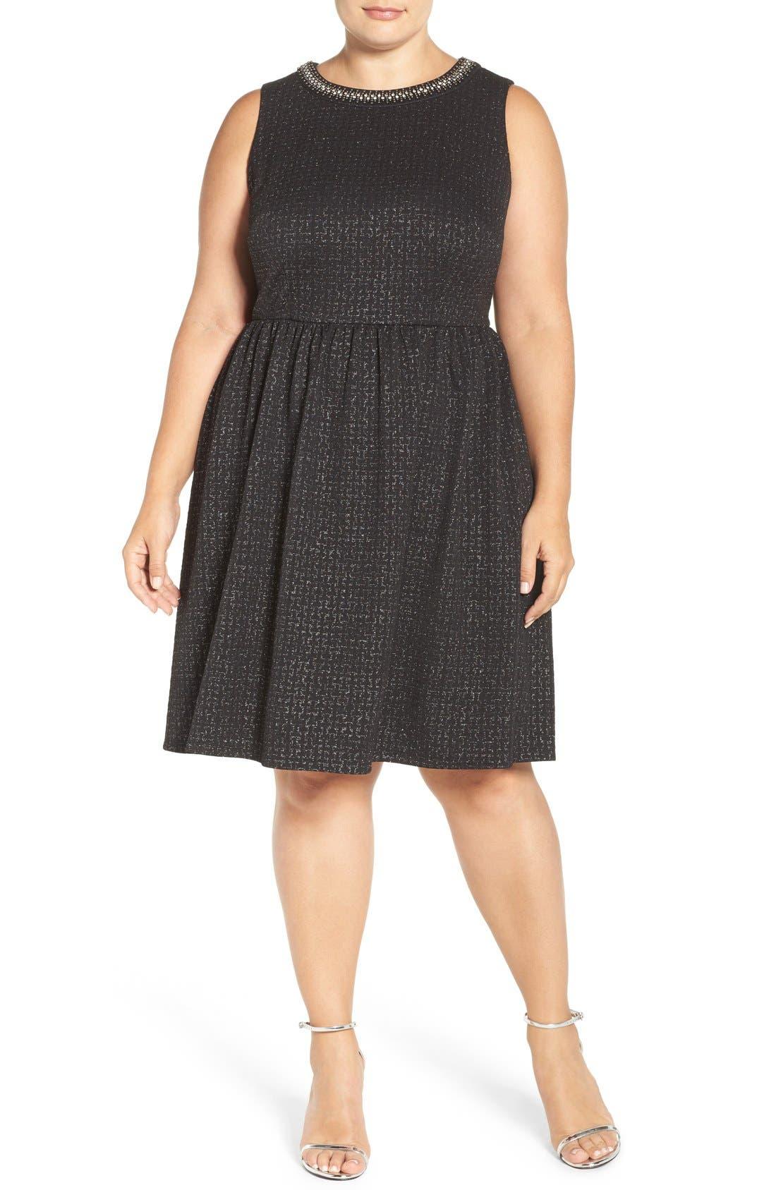 Embellished Stretch Fit & Flare Dress,                             Alternate thumbnail 4, color,                             004
