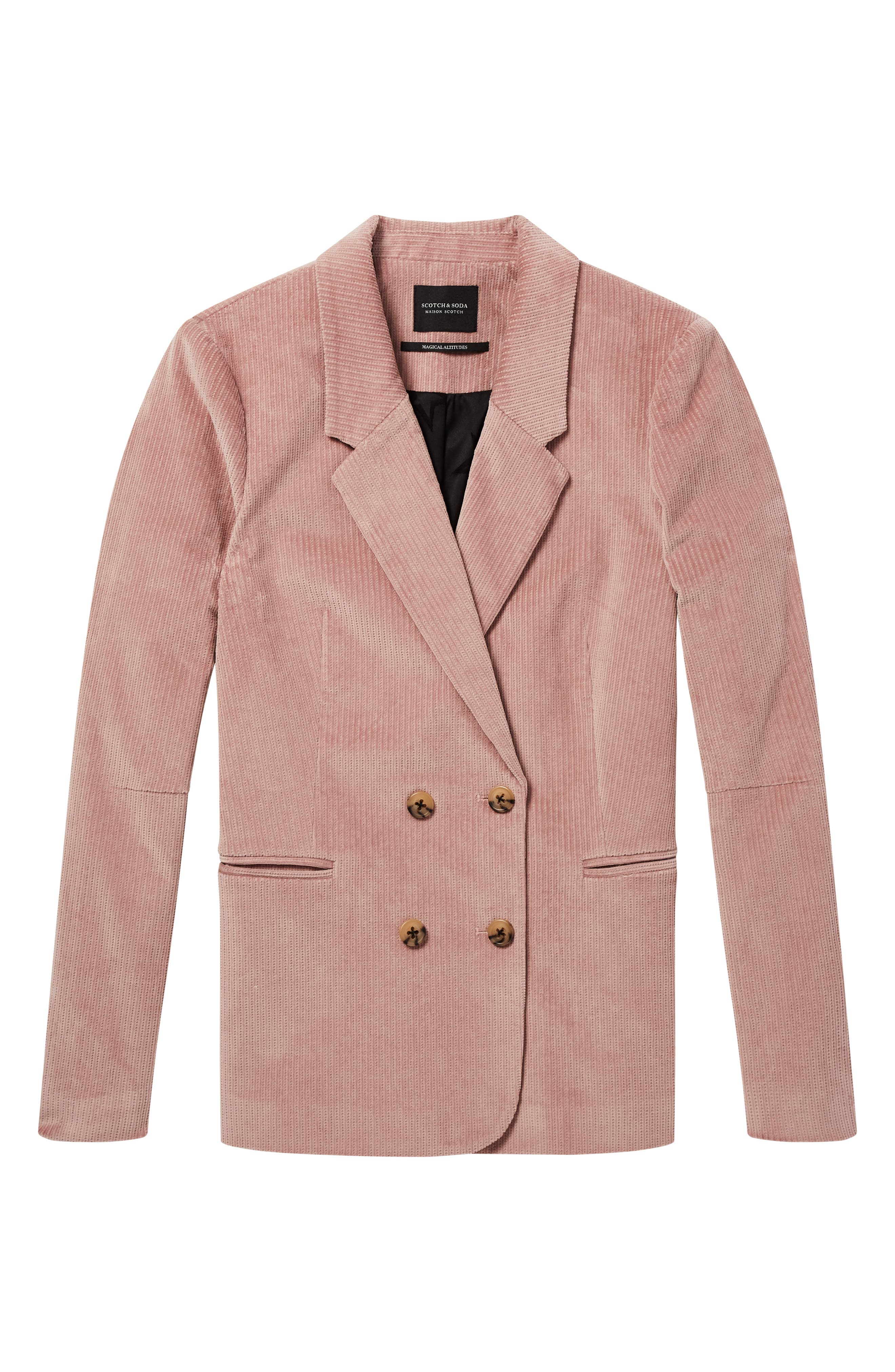 Double Breasted Stretch Corduroy Blazer,                             Alternate thumbnail 4, color,                             MISTY PINK