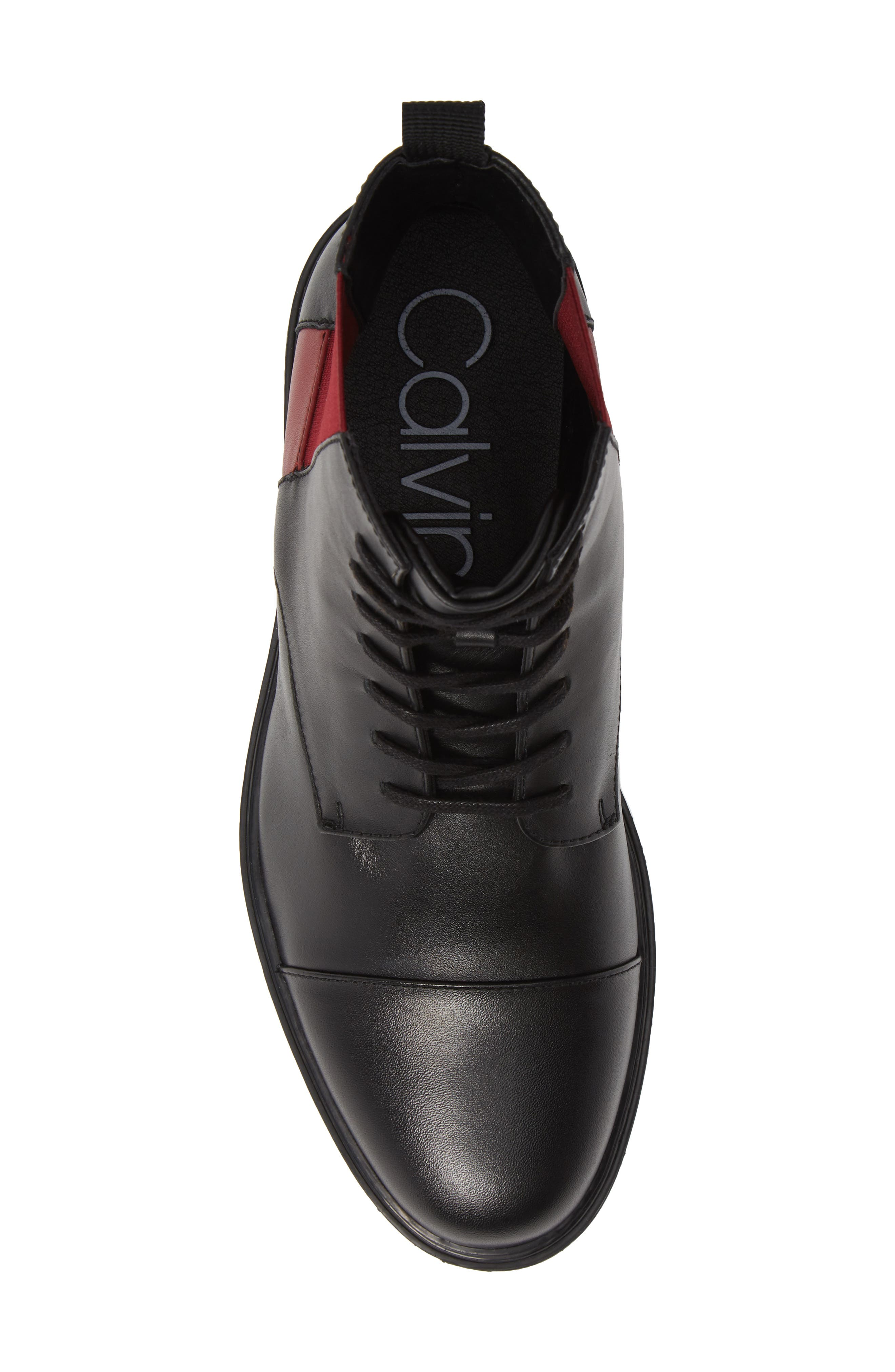 Dameon Lace-Up Boot,                             Alternate thumbnail 5, color,                             BLACK/ RED ROCK LEATHER