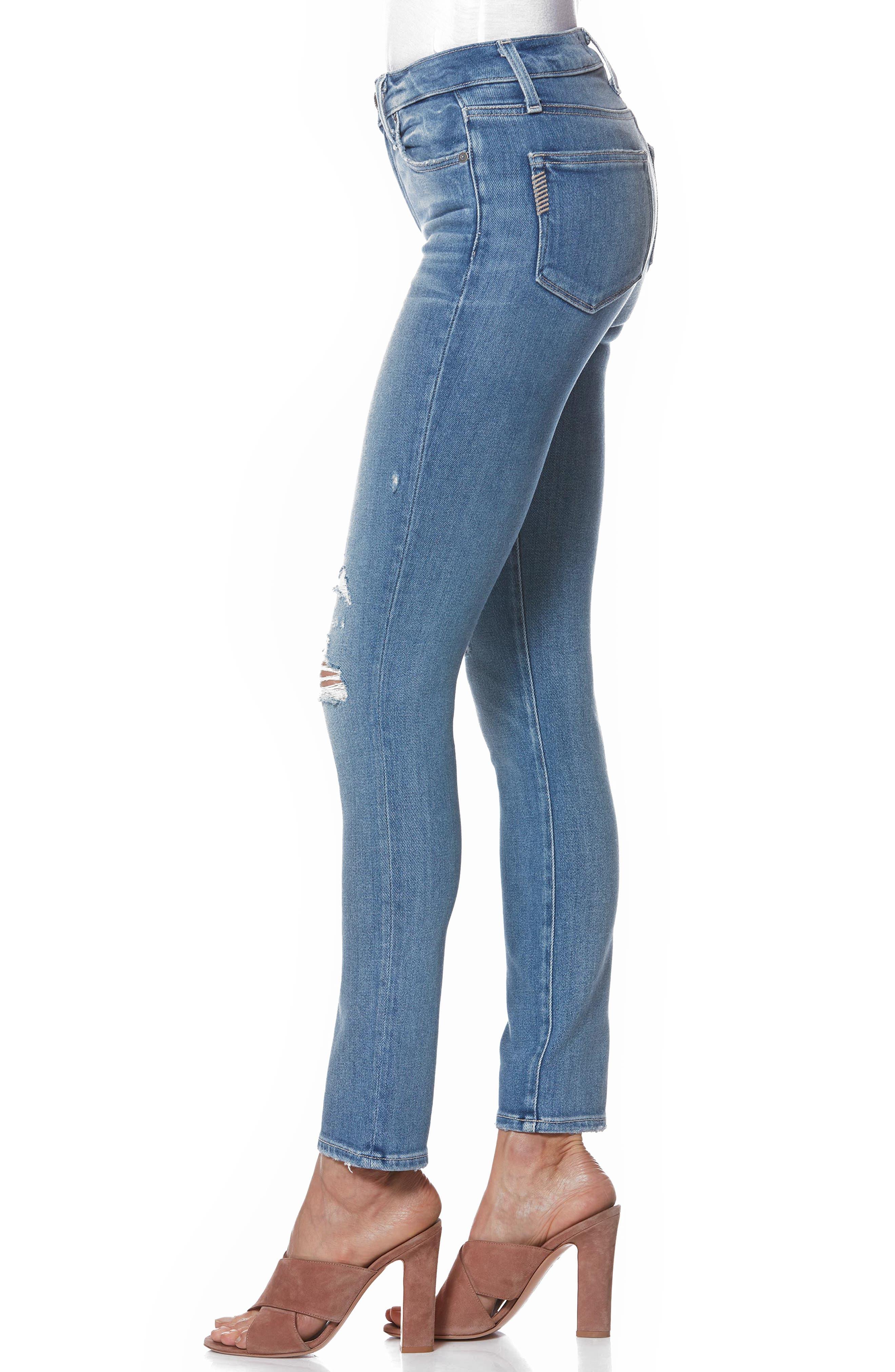Hoxton High Waist Ankle Peg Jeans,                             Alternate thumbnail 3, color,                             KAYSON DISTRESSED