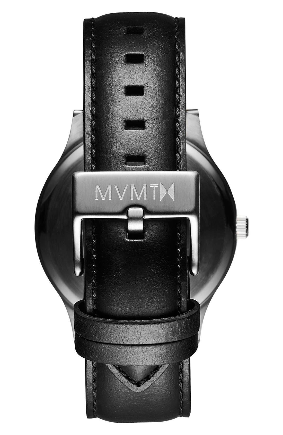 MVMT,                             Leather Strap Watch, 40mm,                             Alternate thumbnail 4, color,                             BLACK/ BLACK