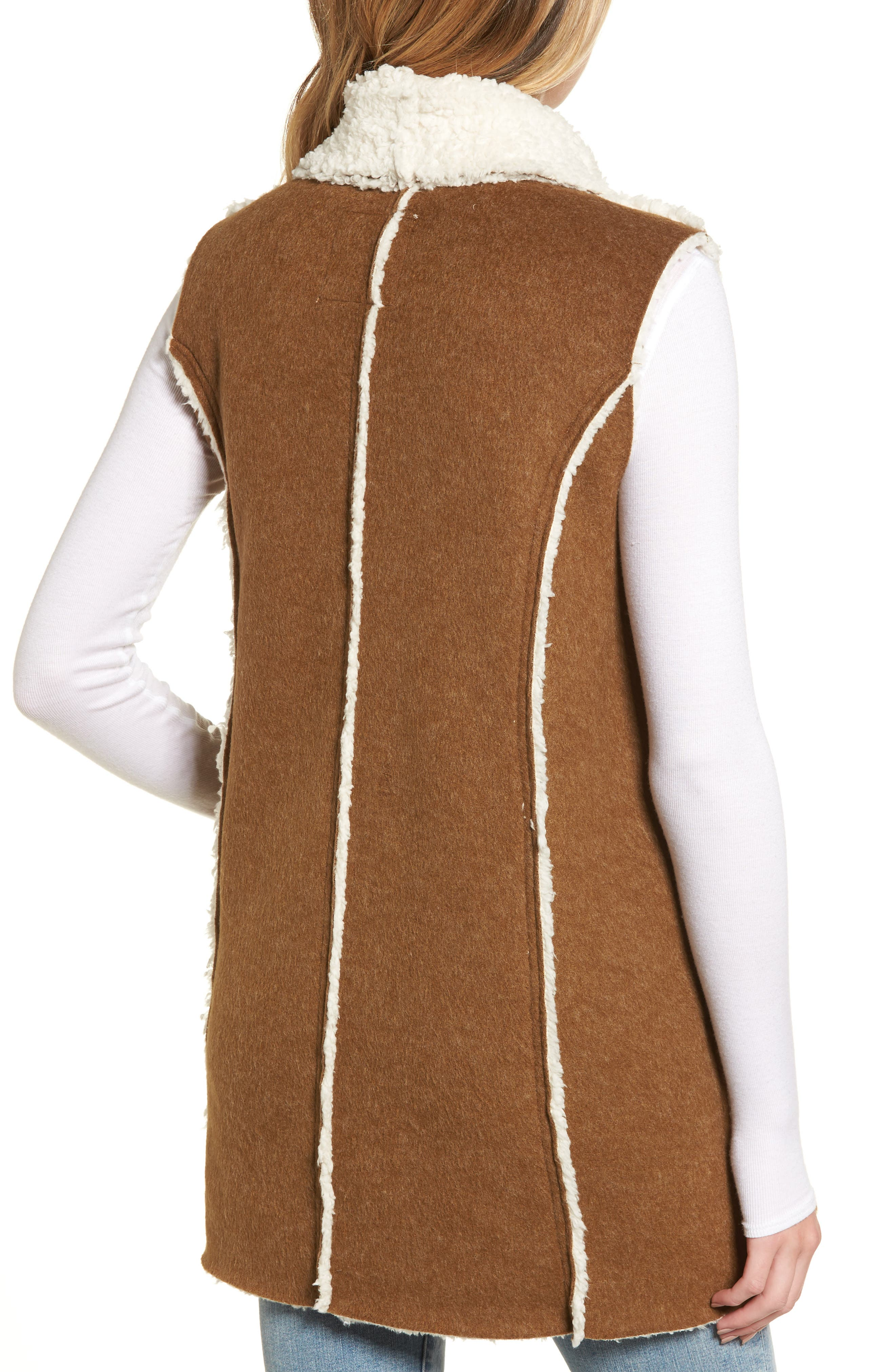 Flannel Faux Shearling Vest,                             Alternate thumbnail 2, color,