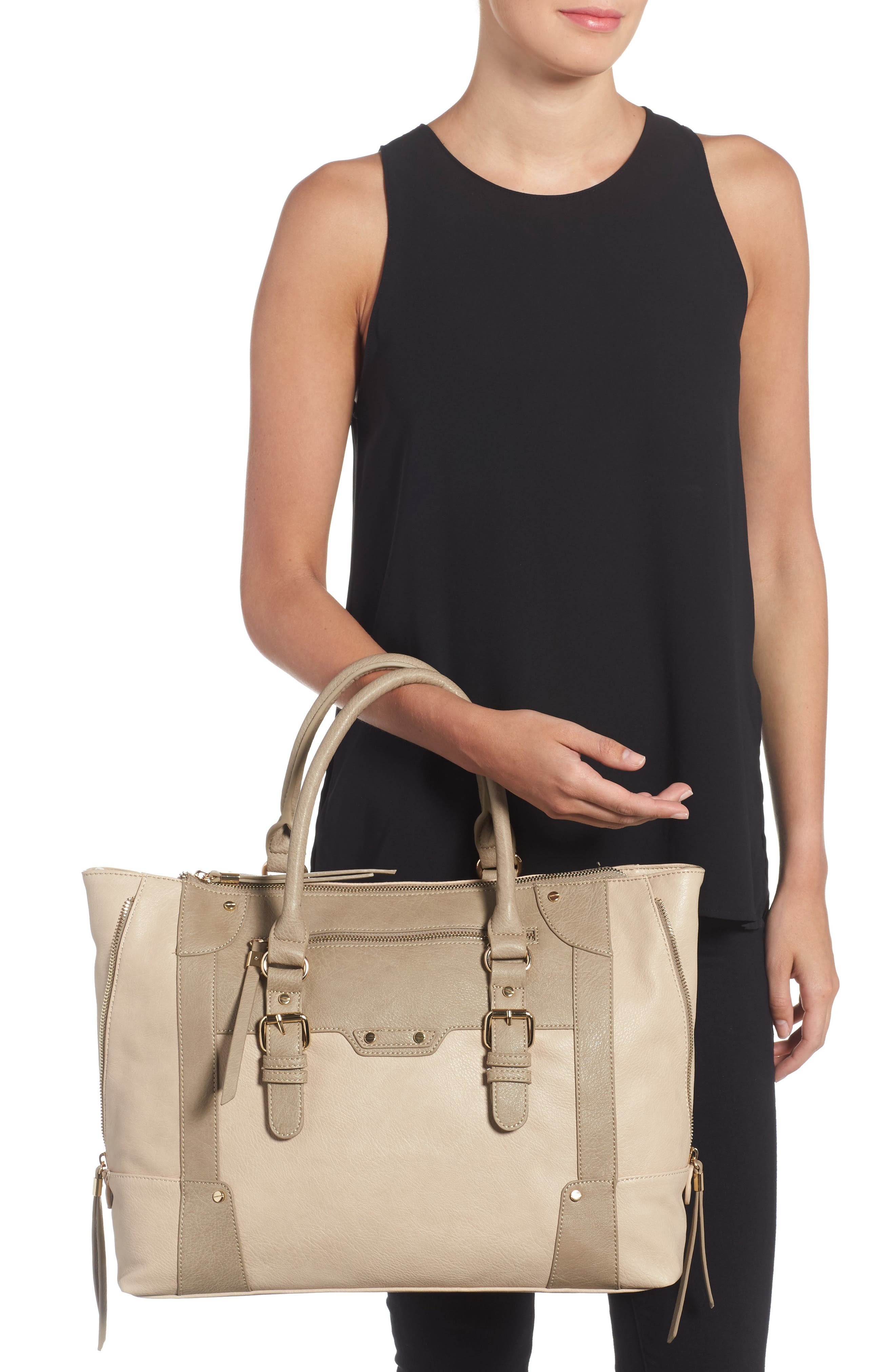 'Susan' Winged Faux Leather Tote,                             Alternate thumbnail 9, color,