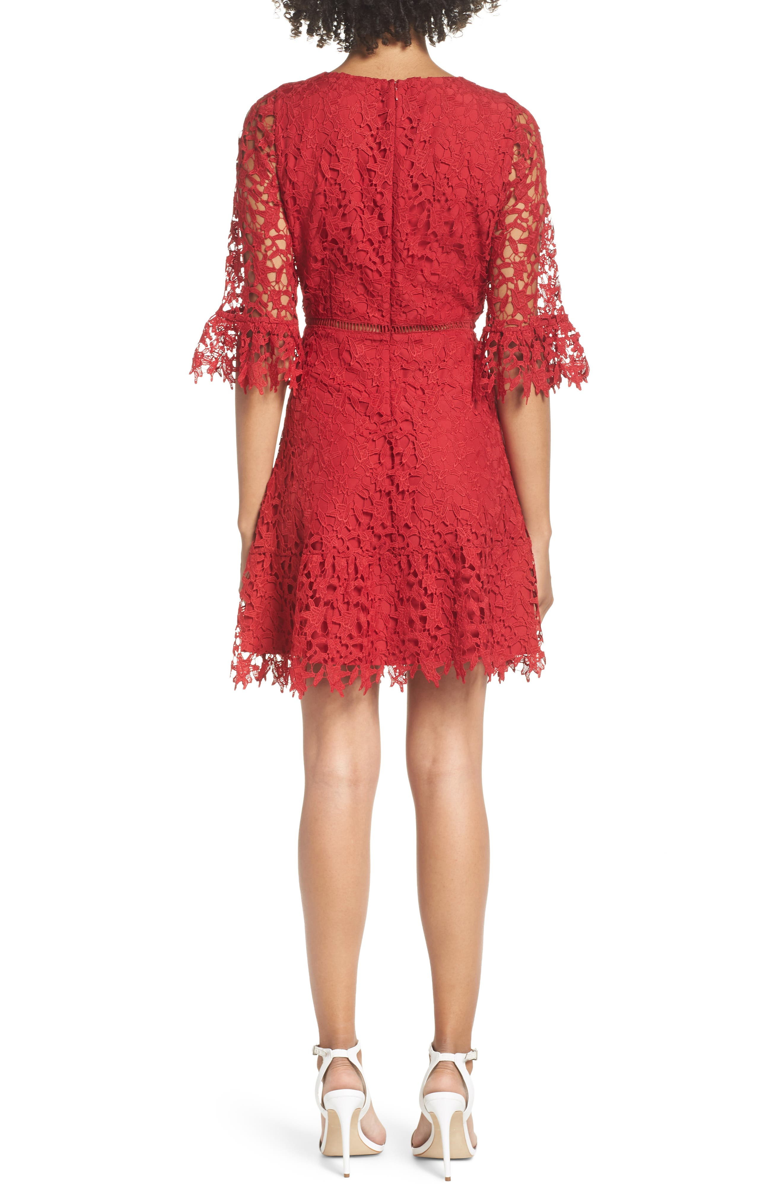 In the Moment Lace Dress,                             Alternate thumbnail 2, color,                             SCARLET RED