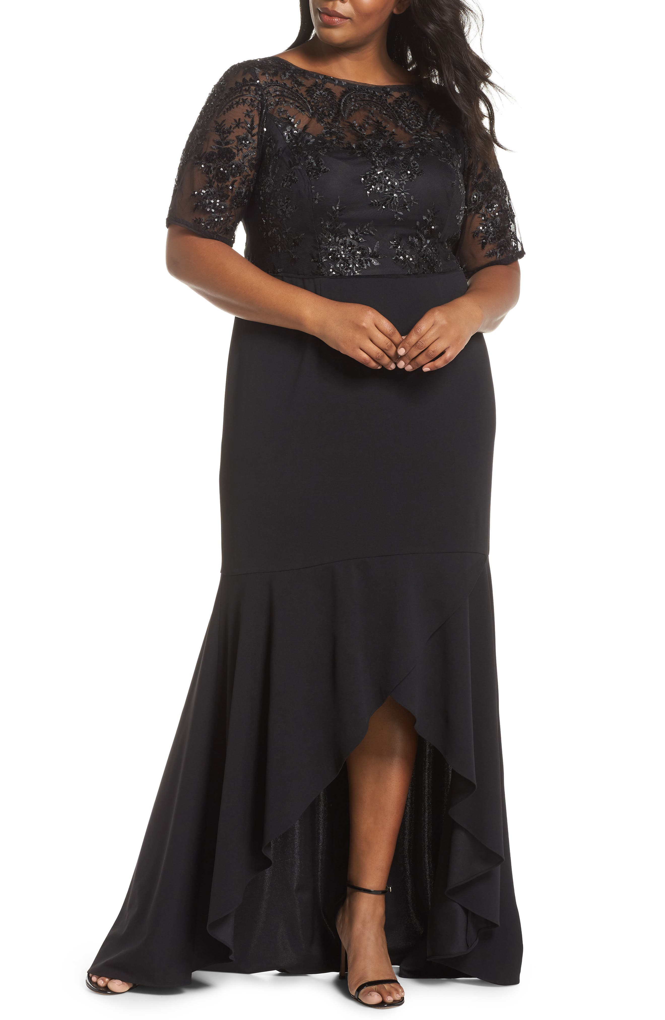 Sequin Bodice High/Low Gown,                             Main thumbnail 1, color,                             001