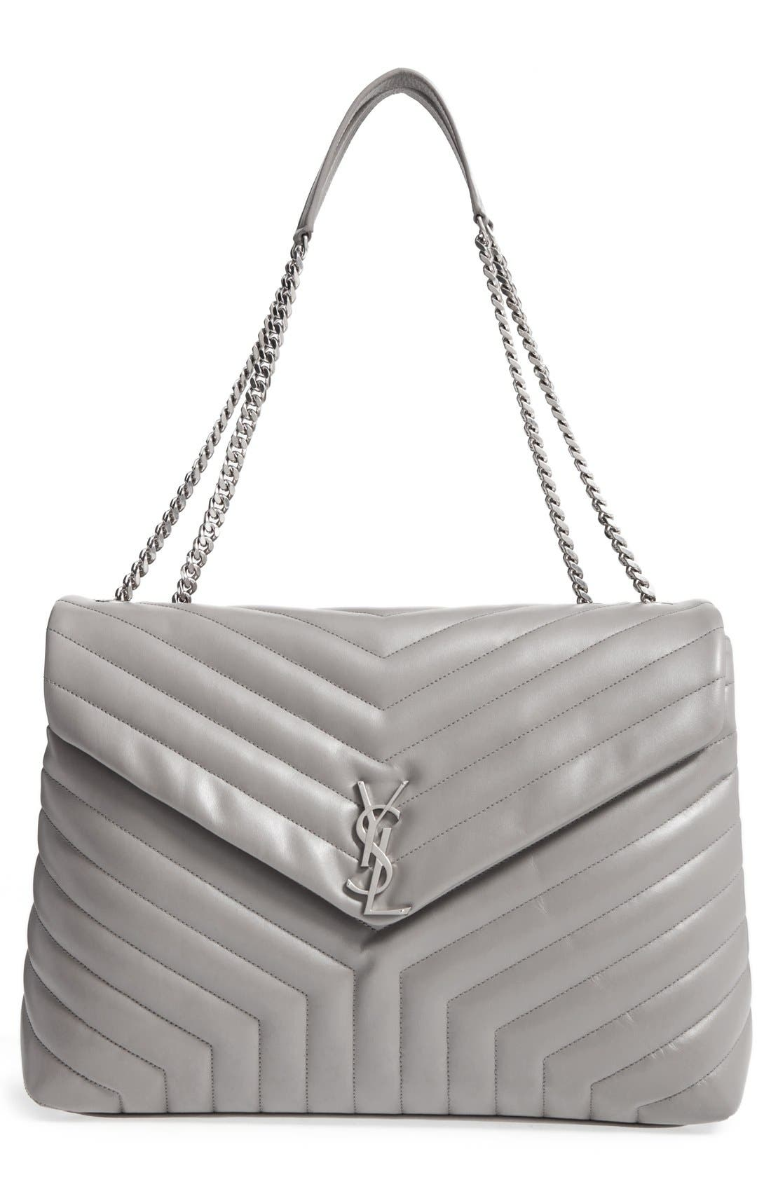 Monogram Quilted Leather Slouchy Shoulder Bag,                         Main,                         color, OYSTER