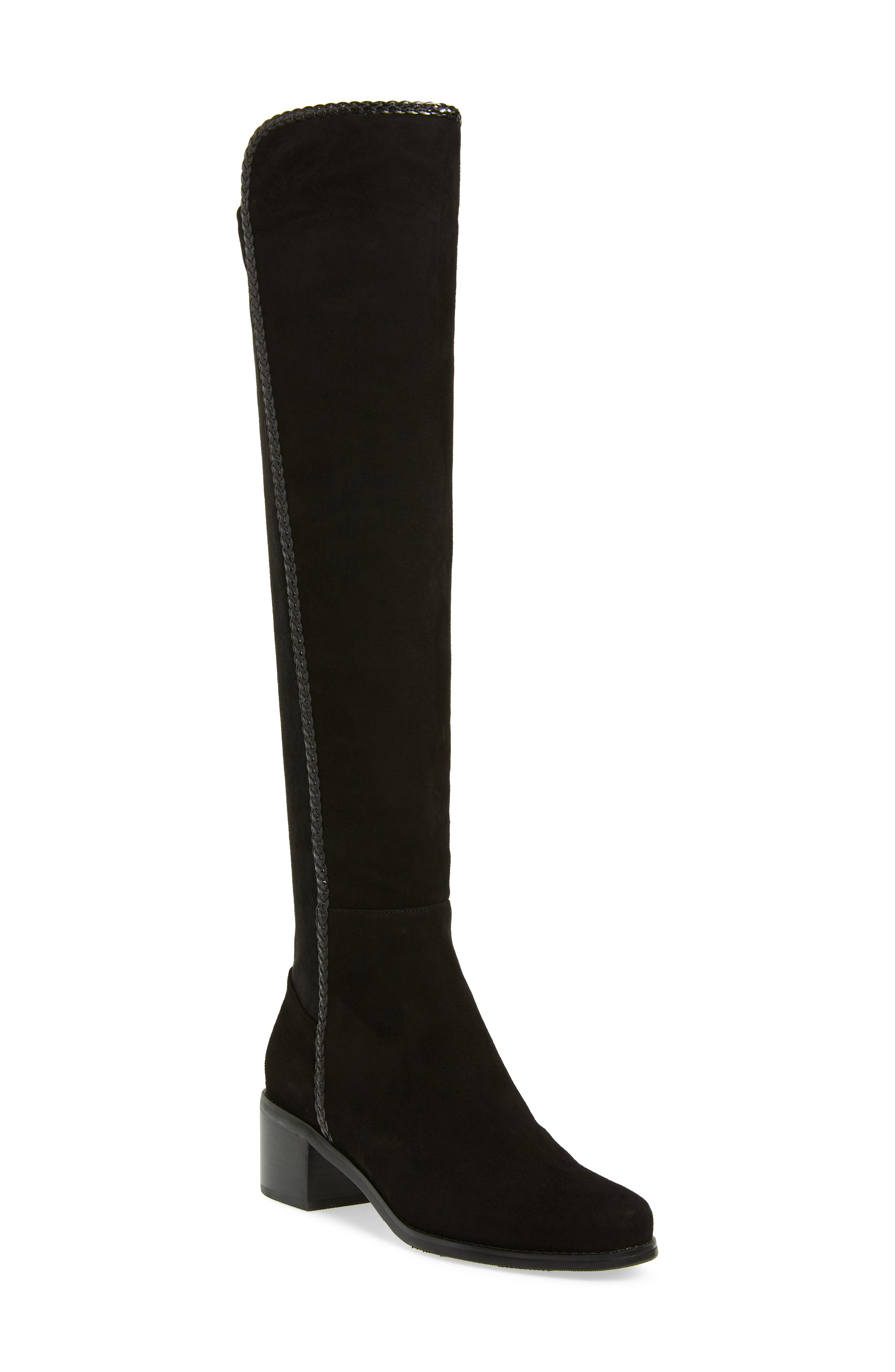 Florence Waterproof Over the Knee Boot,                             Main thumbnail 1, color,                             BLACK SUEDE