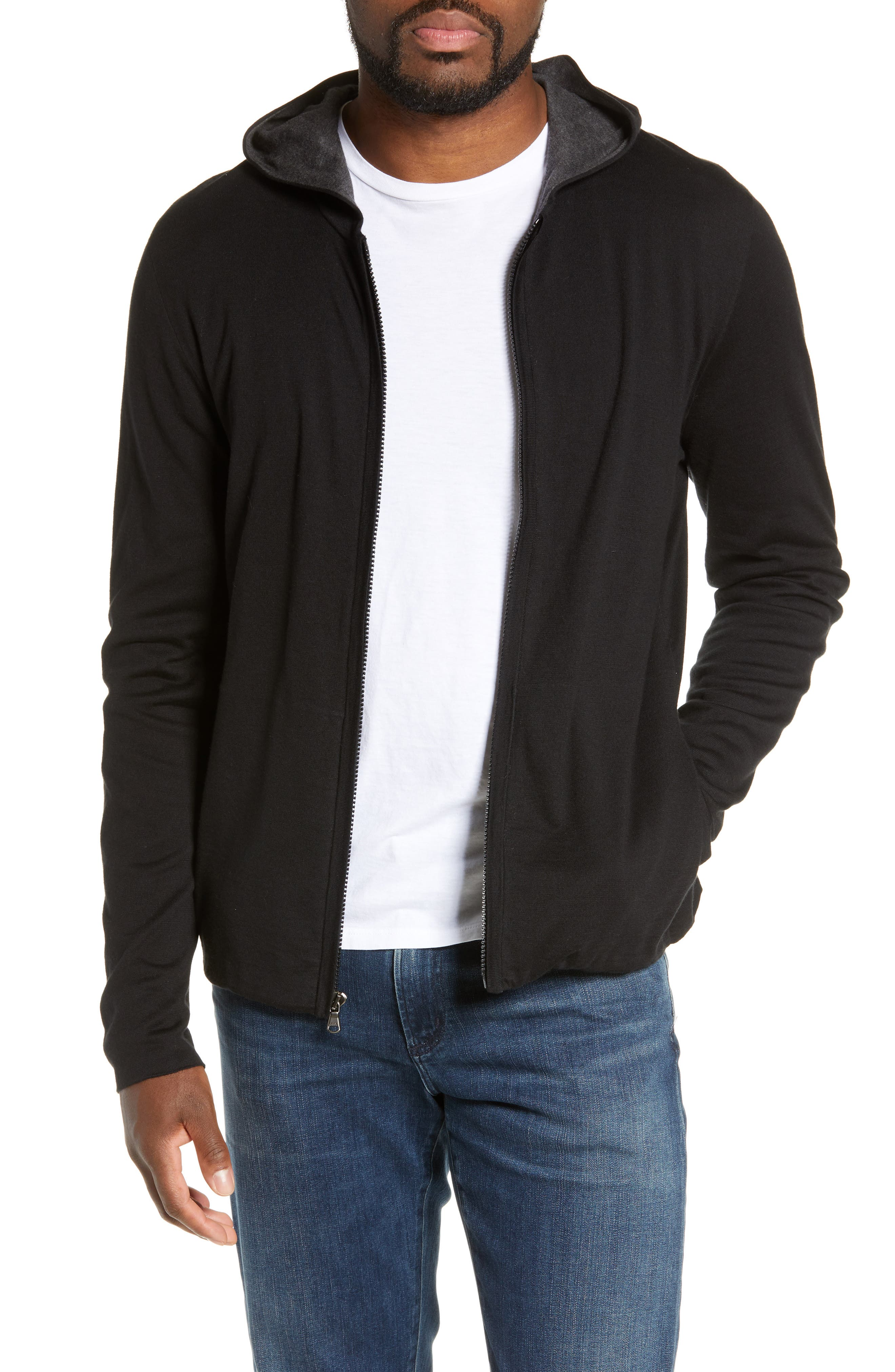 Double Layer Full Zip Hoodie, Main, color, BLACK/ HEATHER CHARCOAL
