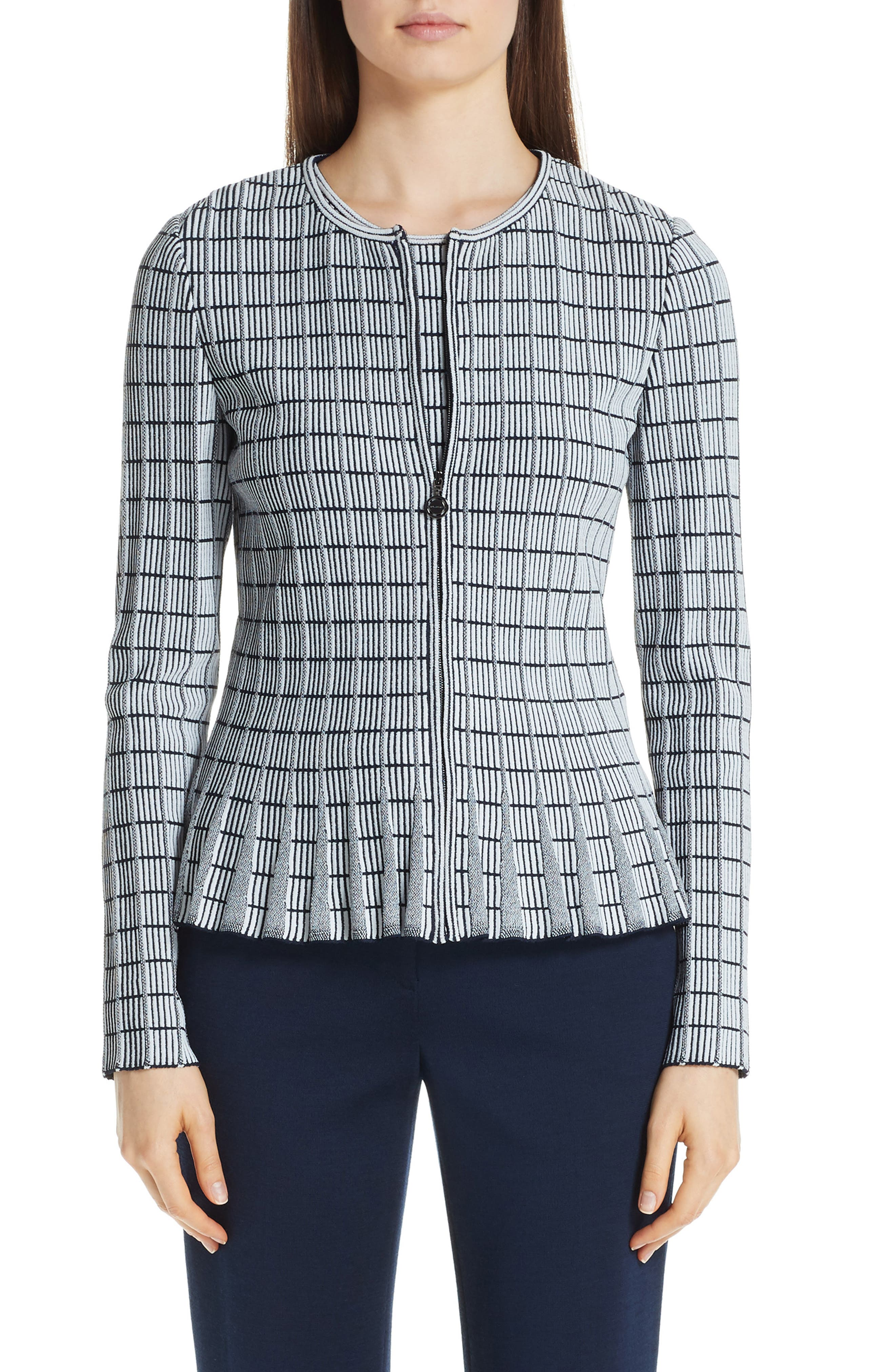 ,                             Ottoman Knit Jacket,                             Main thumbnail 1, color,                             GREY/ NAVY