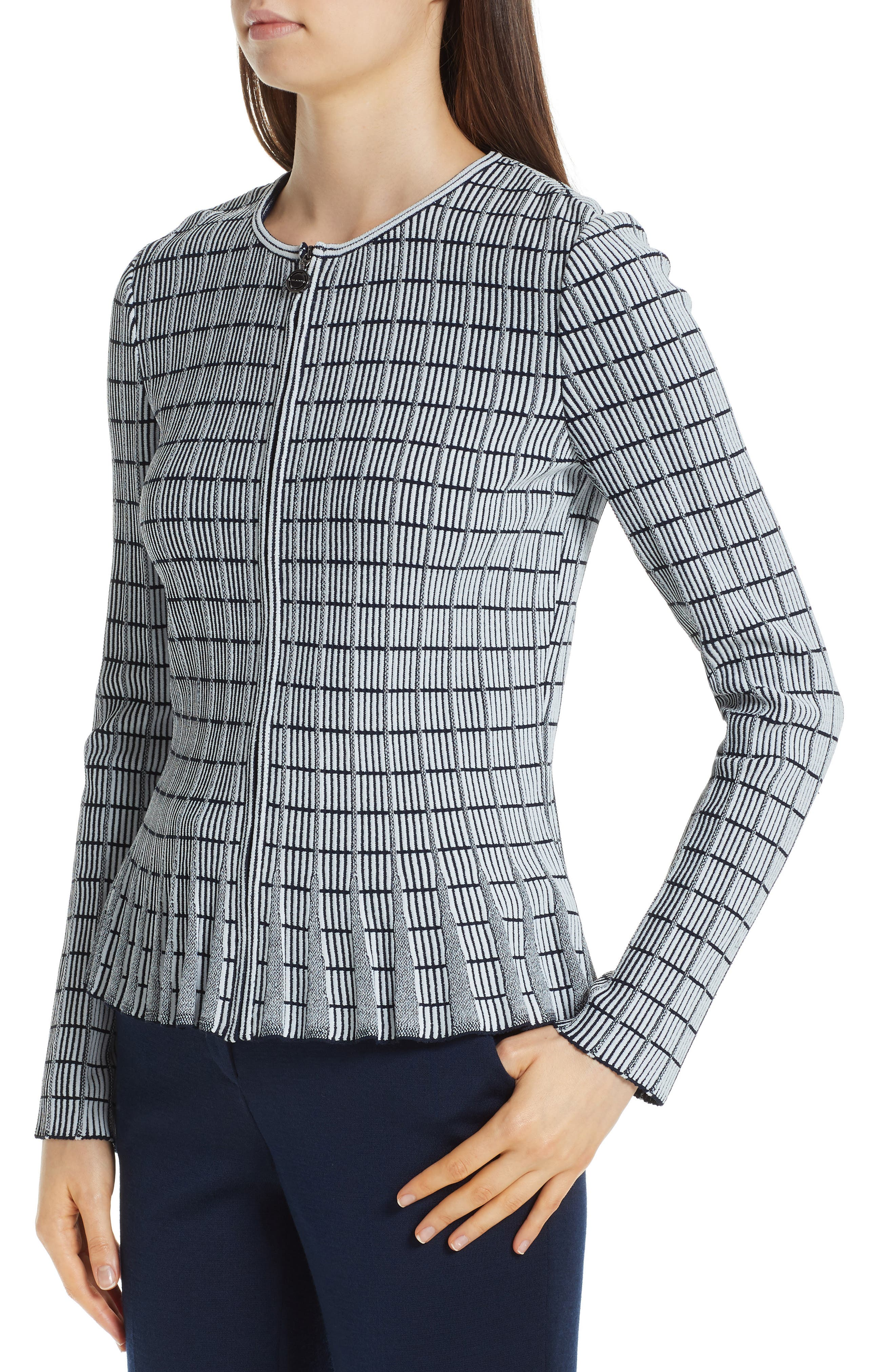 ,                             Ottoman Knit Jacket,                             Alternate thumbnail 5, color,                             GREY/ NAVY