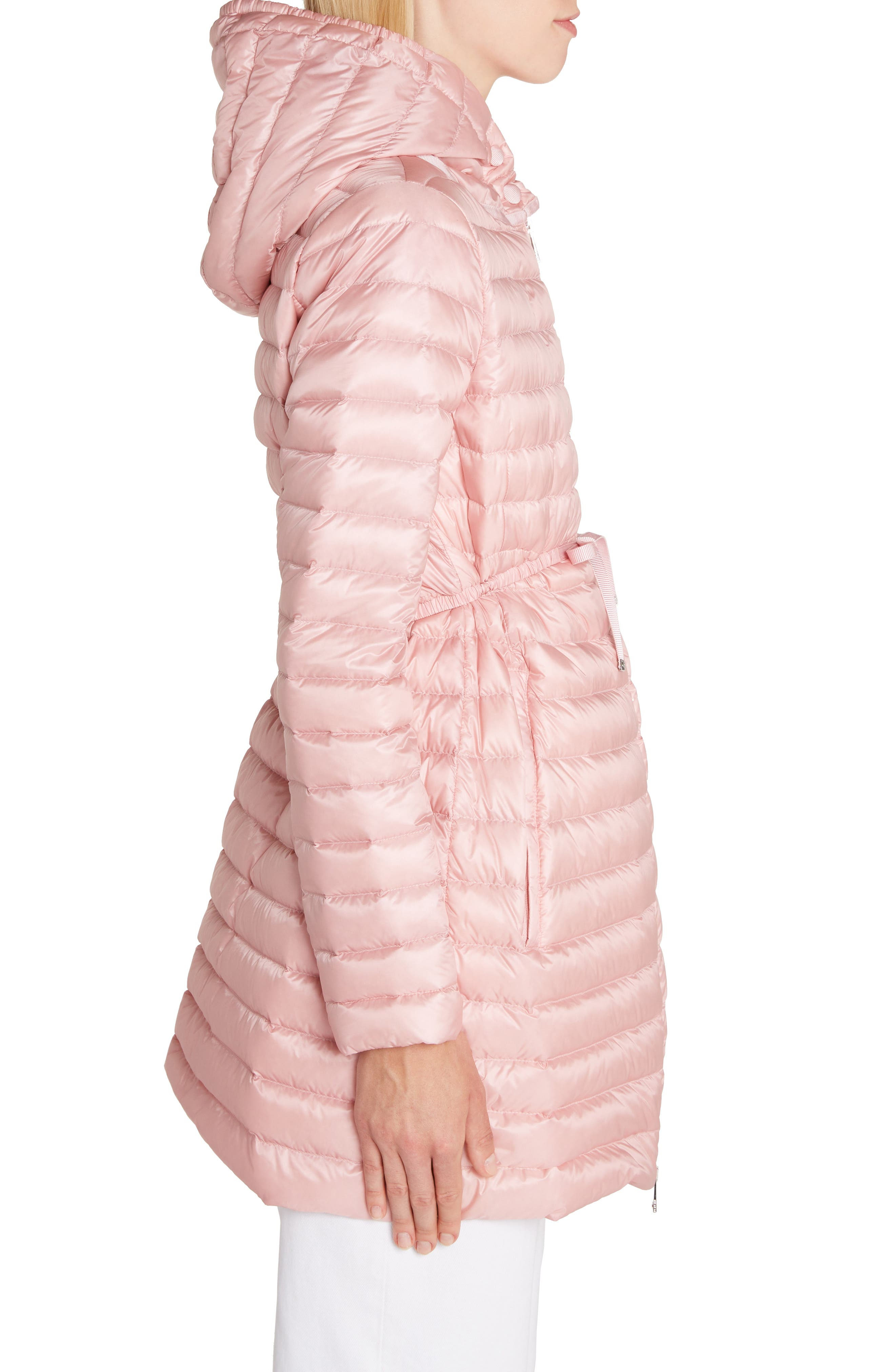 ,                             Barbel Tie Waist Hooded Down Coat,                             Alternate thumbnail 3, color,                             LIGHT PINK