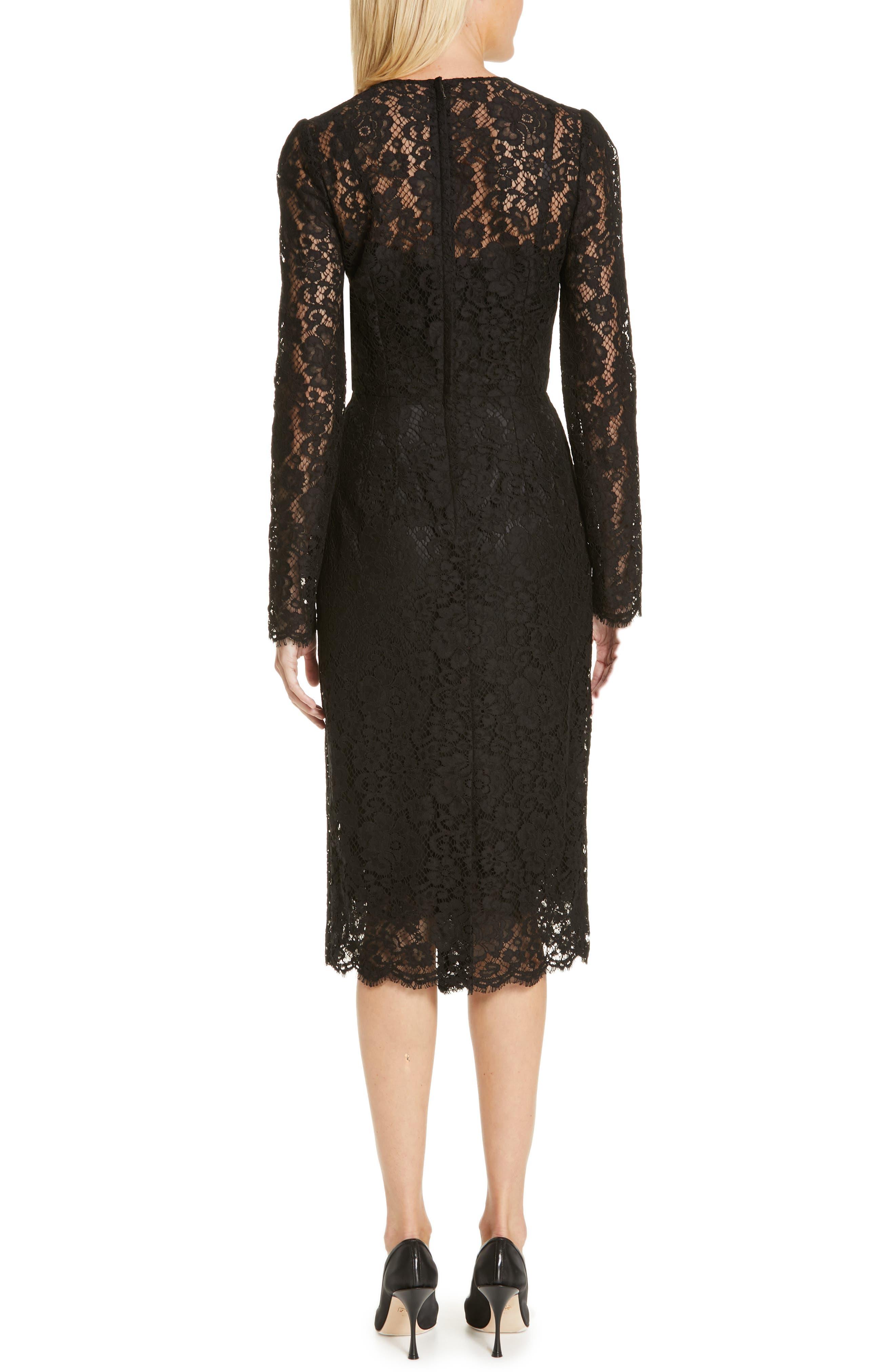 ,                             Lace Pencil Dress,                             Alternate thumbnail 2, color,                             BLACK
