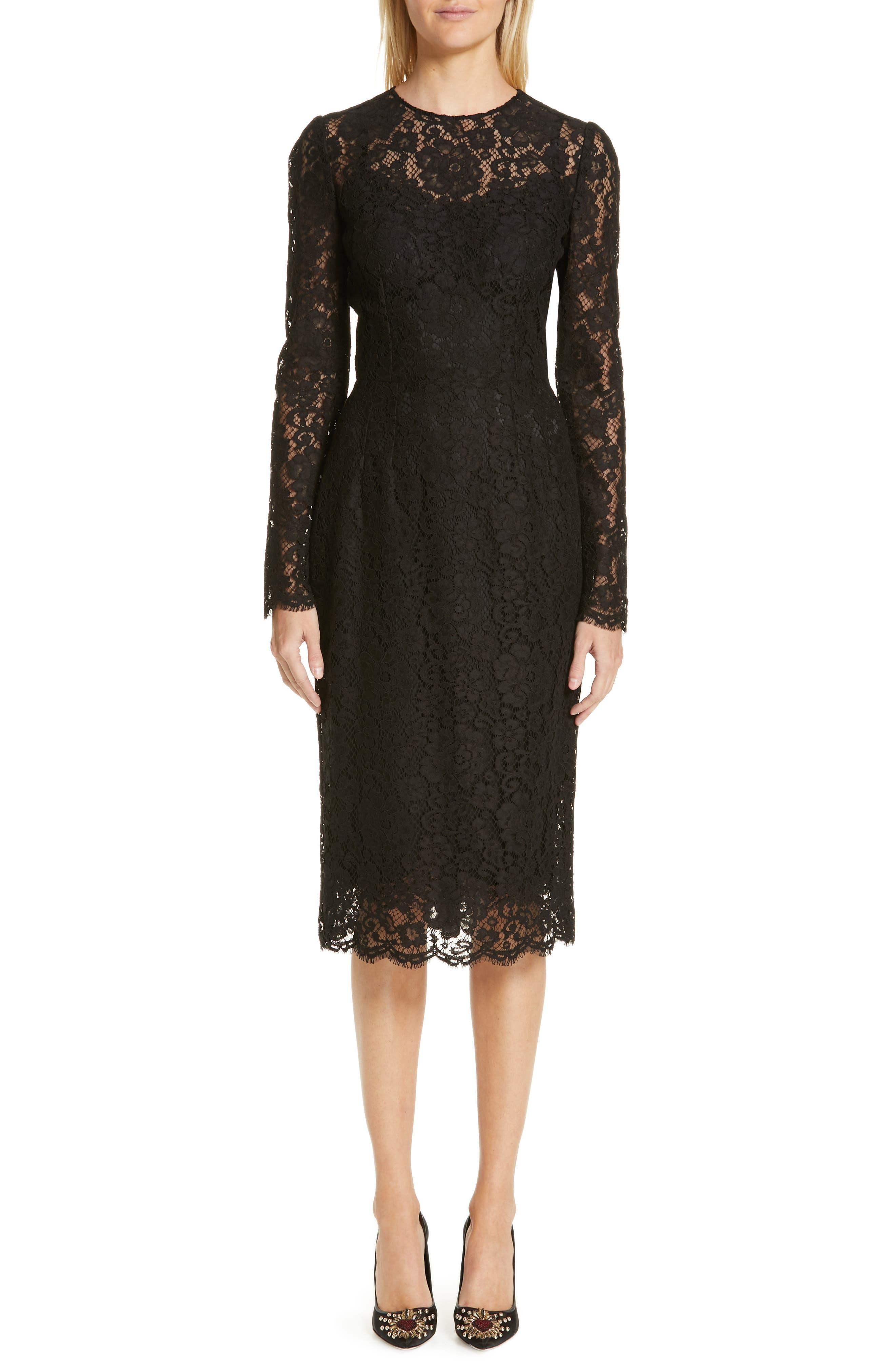 ,                             Lace Pencil Dress,                             Main thumbnail 1, color,                             BLACK