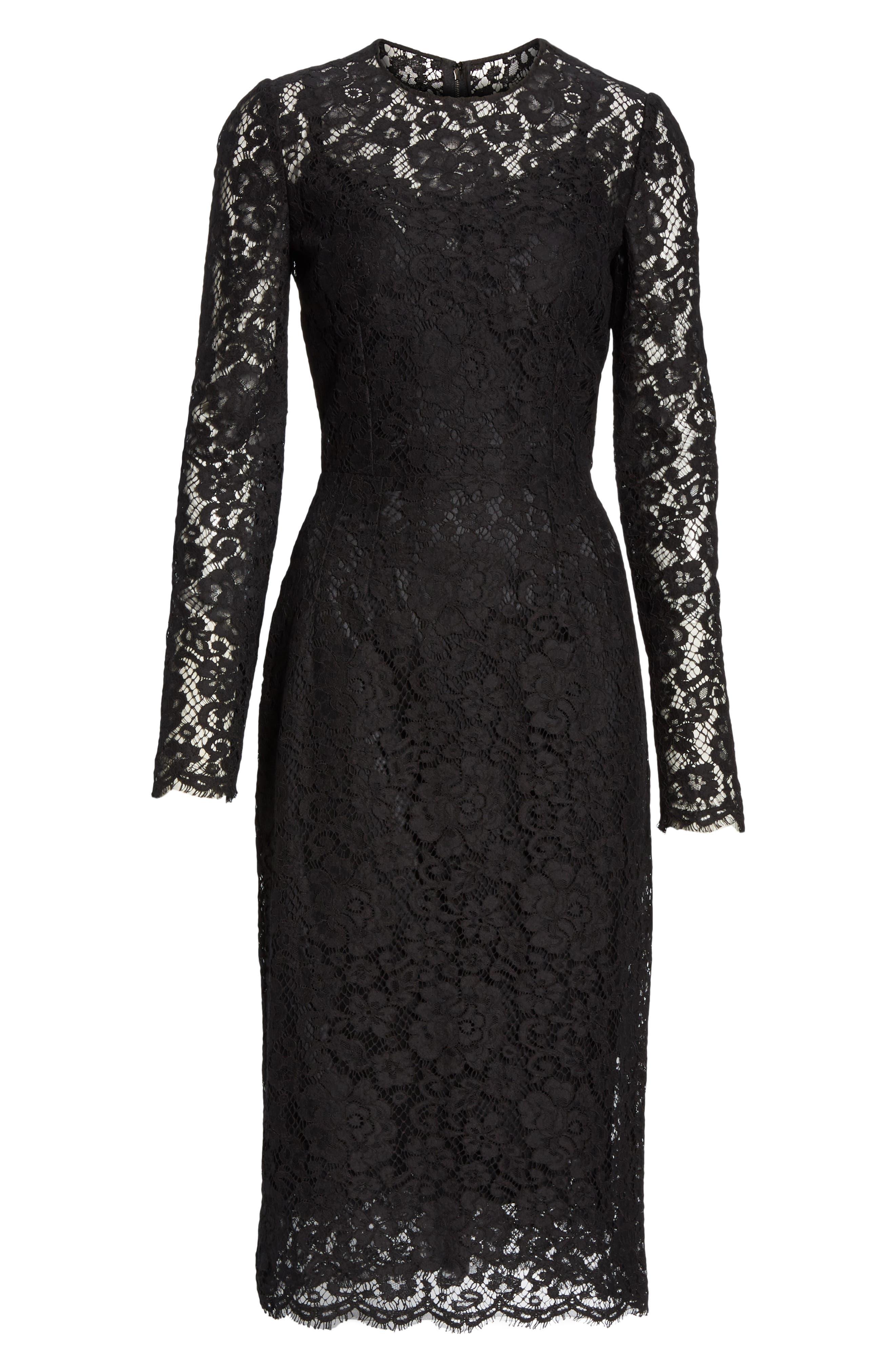 ,                             Lace Pencil Dress,                             Alternate thumbnail 7, color,                             BLACK