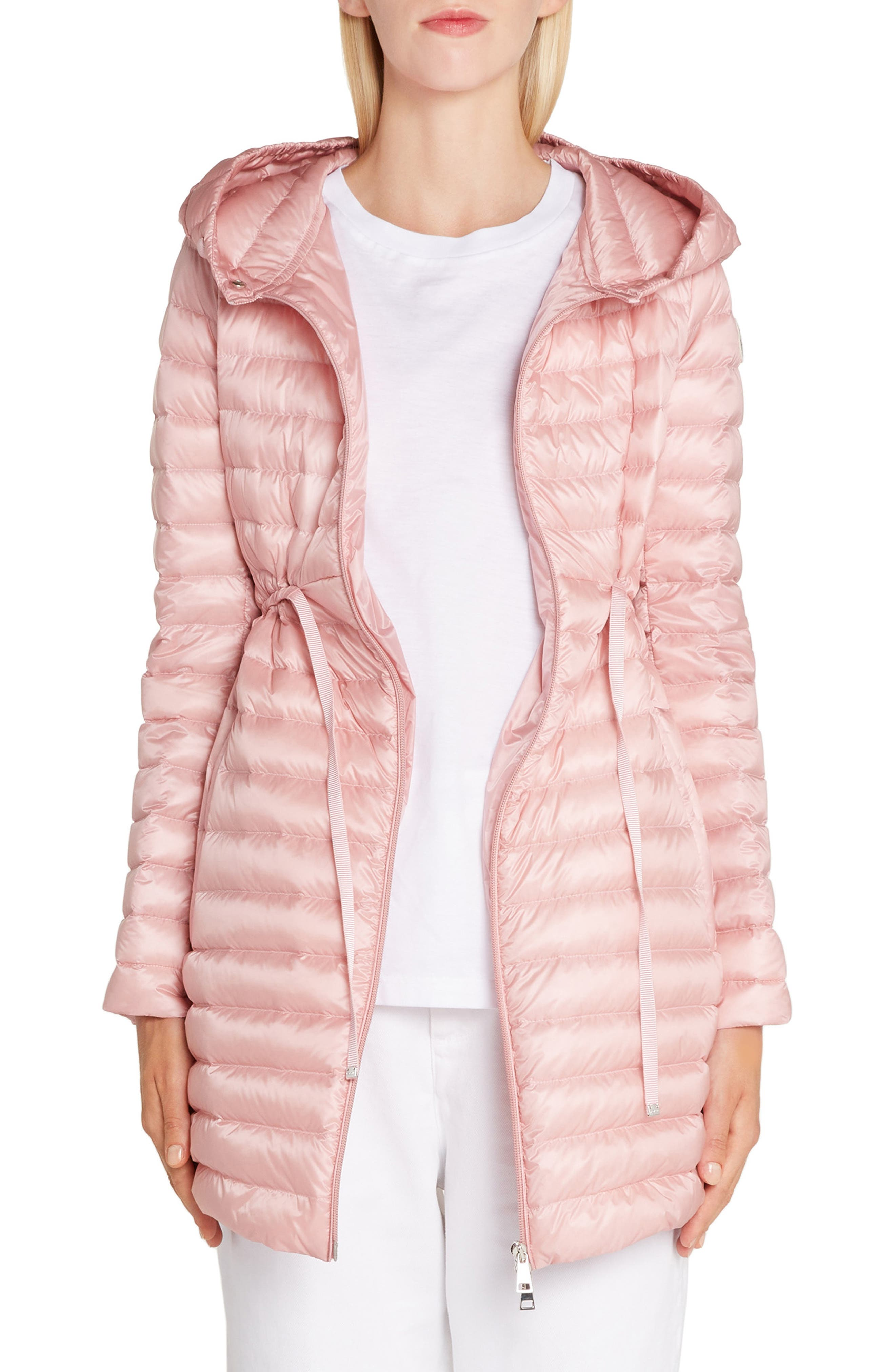 Barbel Tie Waist Hooded Down Coat, Main, color, LIGHT PINK