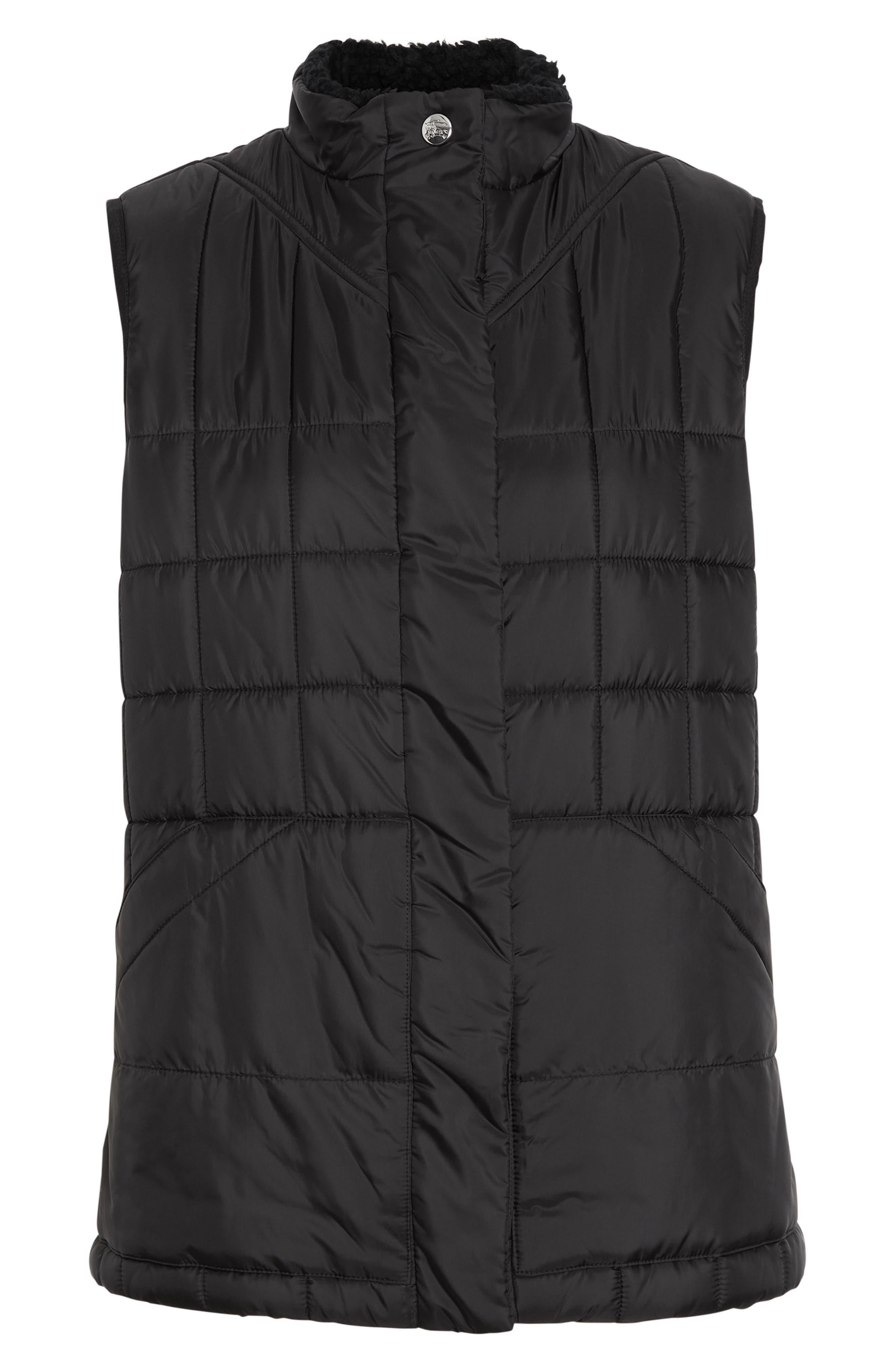 ,                             Leintune Faux Shearling Trim Quilted Vest,                             Alternate thumbnail 4, color,                             BLACK