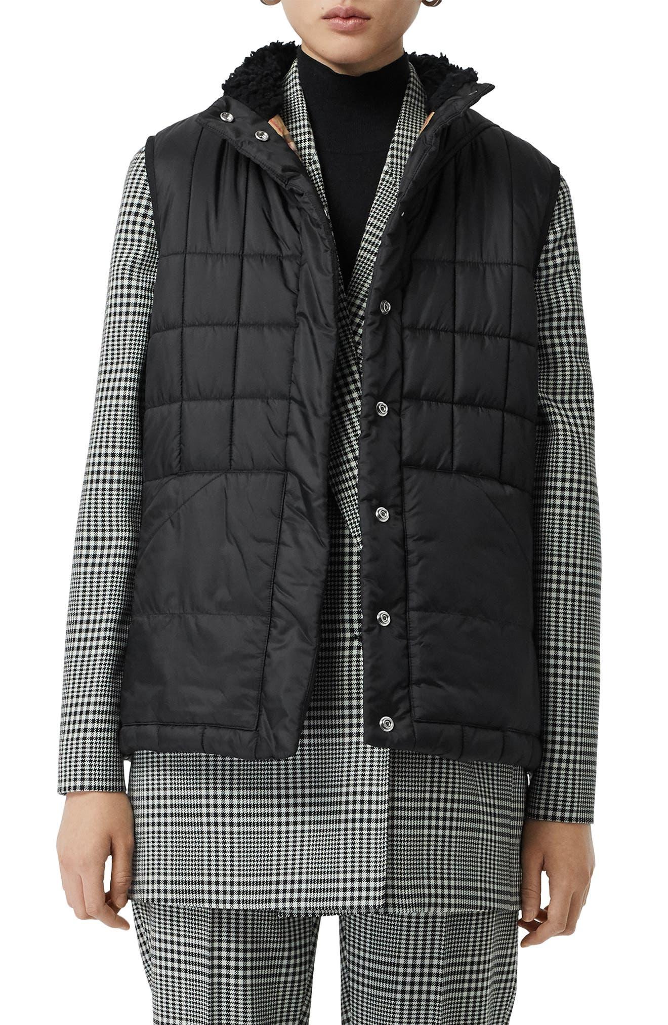 Leintune Faux Shearling Trim Quilted Vest, Main, color, BLACK