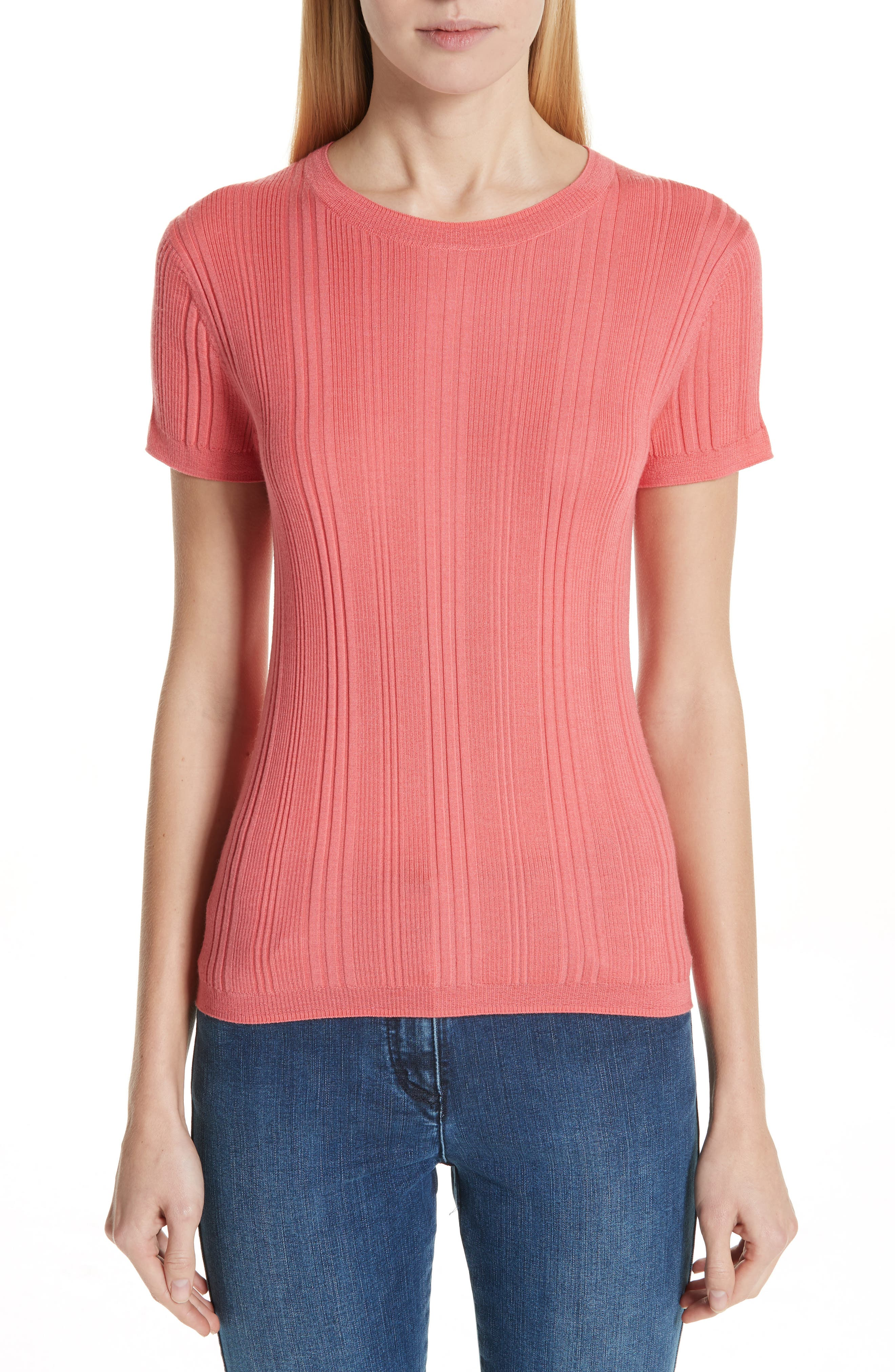 Superfine Variegated Rib Sweater, Main, color, CORAL