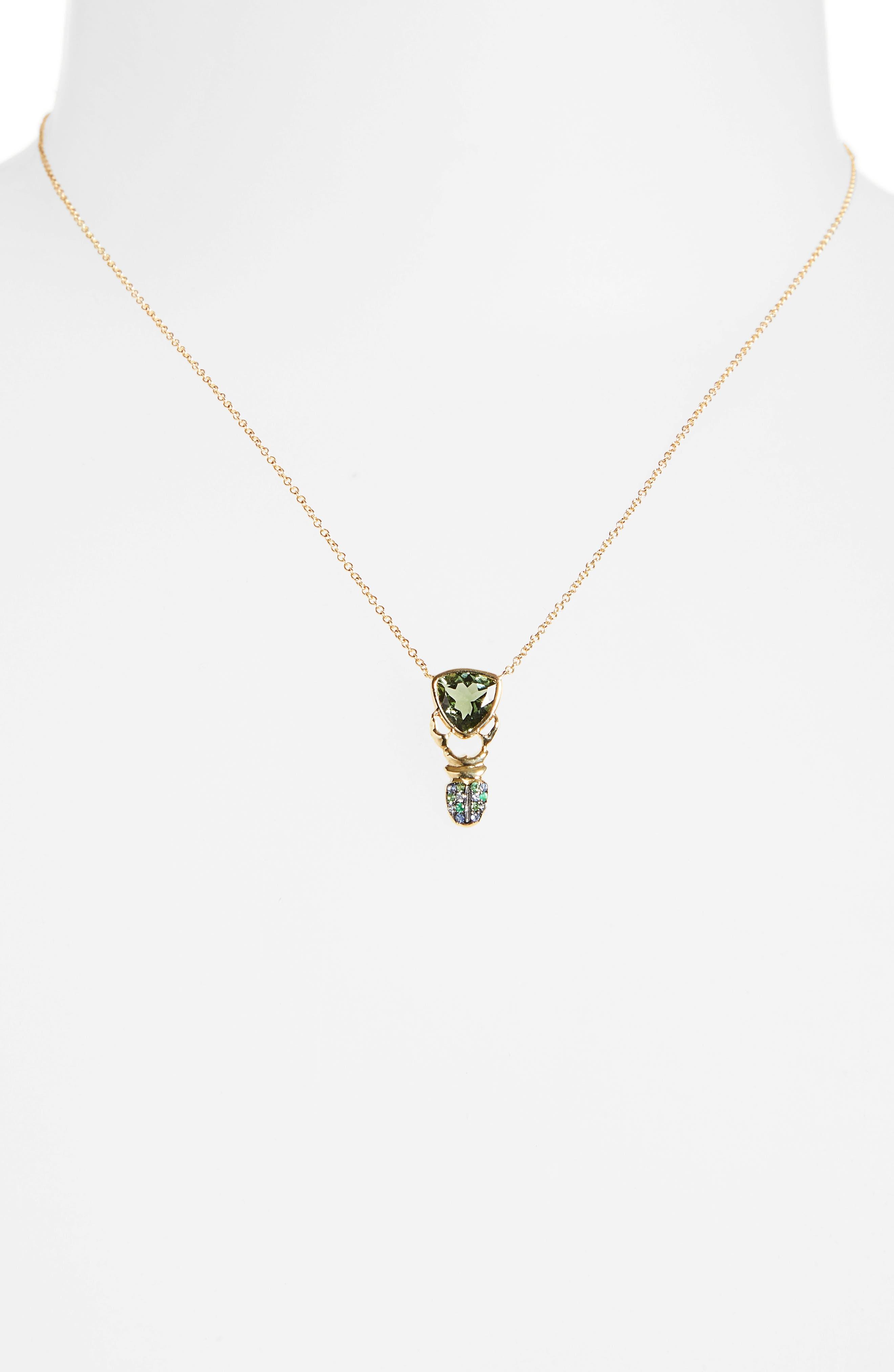 ,                             Khepri Tourmaline, Sapphire & Emerald Pendant Necklace,                             Main thumbnail 1, color,                             710