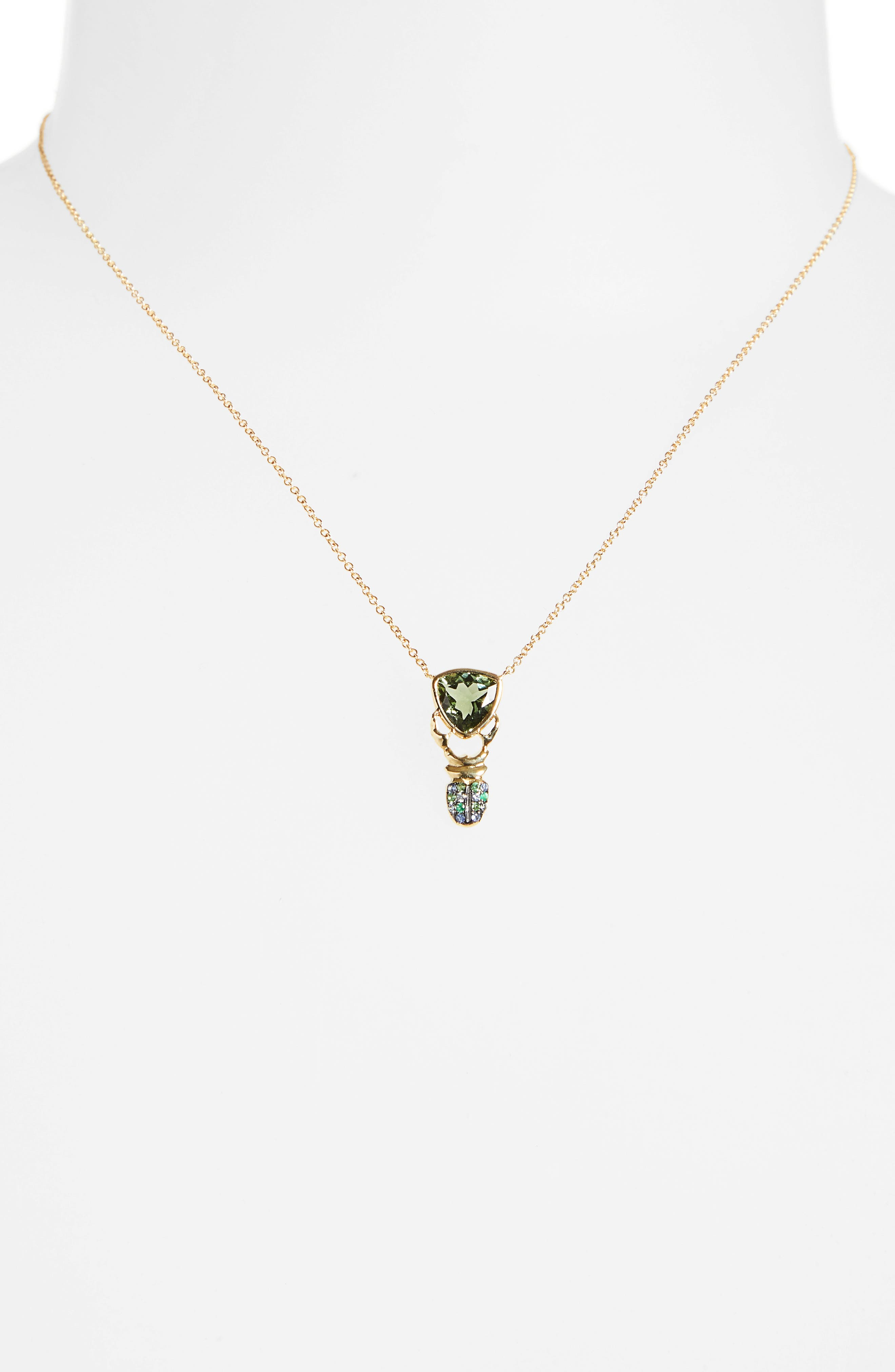 Khepri Tourmaline, Sapphire & Emerald Pendant Necklace, Main, color, 710
