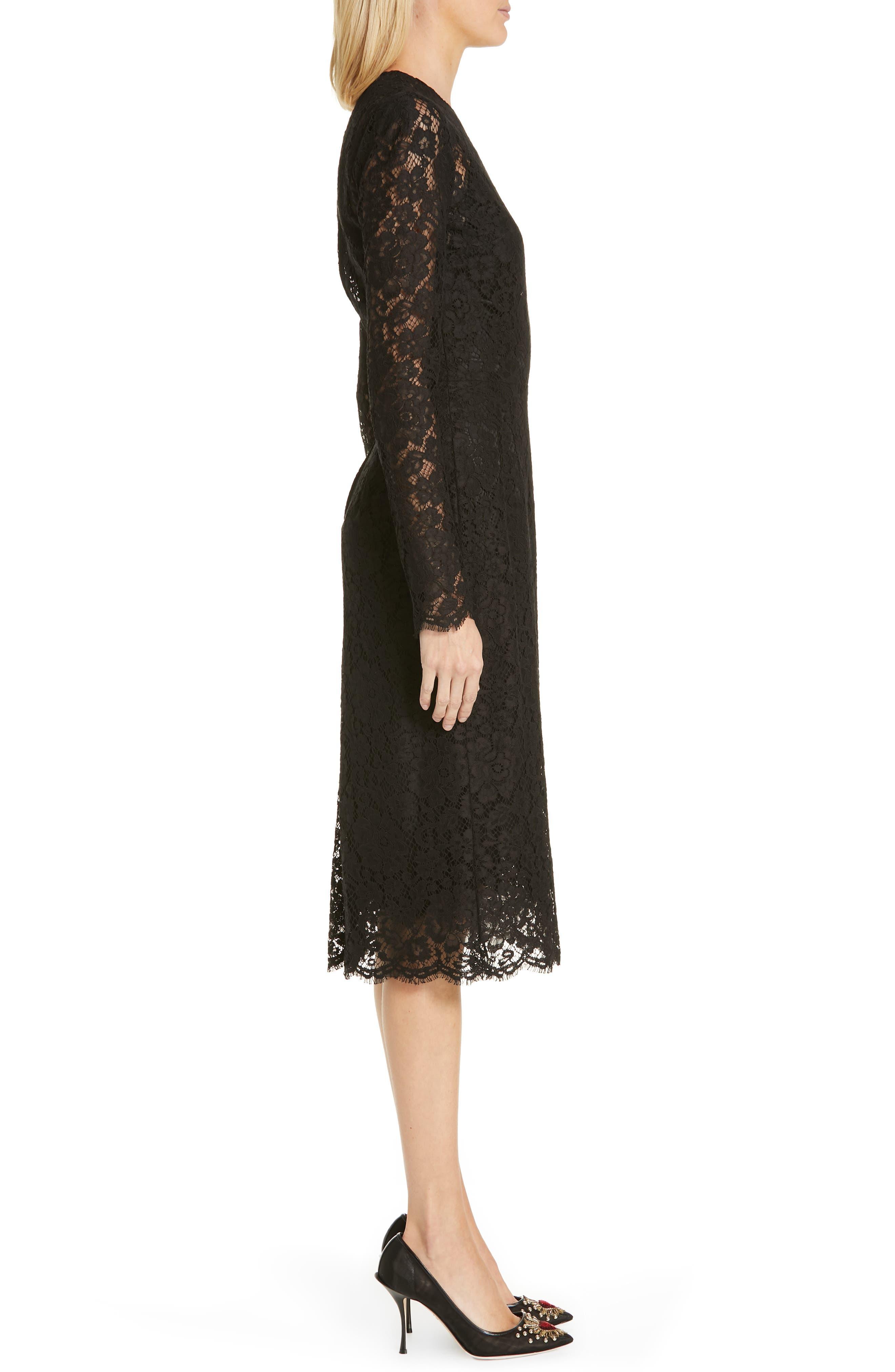 ,                             Lace Pencil Dress,                             Alternate thumbnail 4, color,                             BLACK