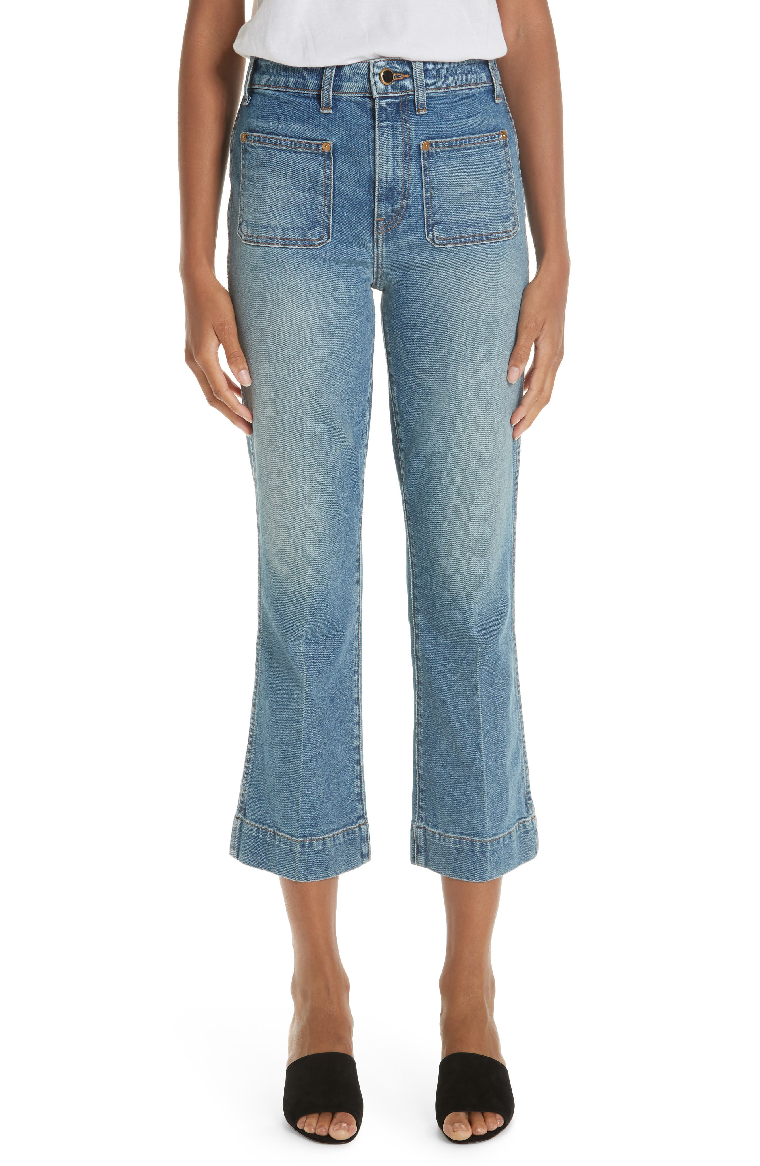 Raquel Crop Flare Jeans, Main, color, VINTAGE BLUE