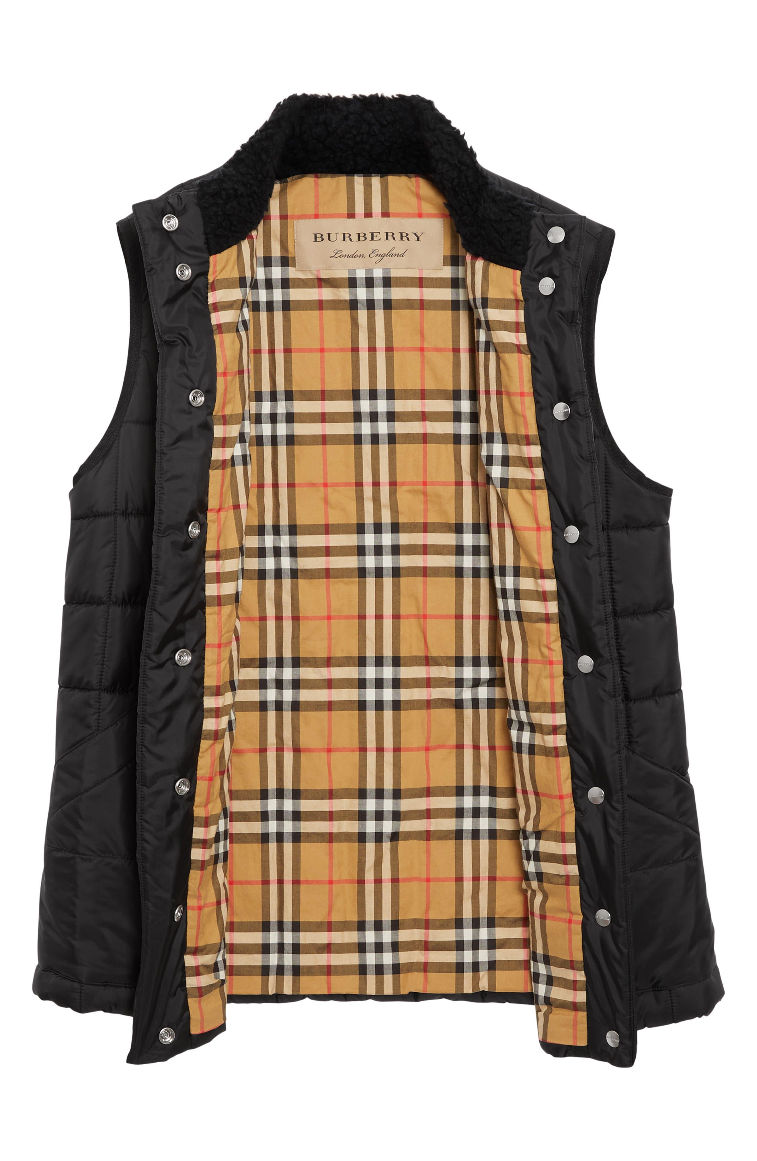 ,                             Leintune Faux Shearling Trim Quilted Vest,                             Alternate thumbnail 5, color,                             BLACK