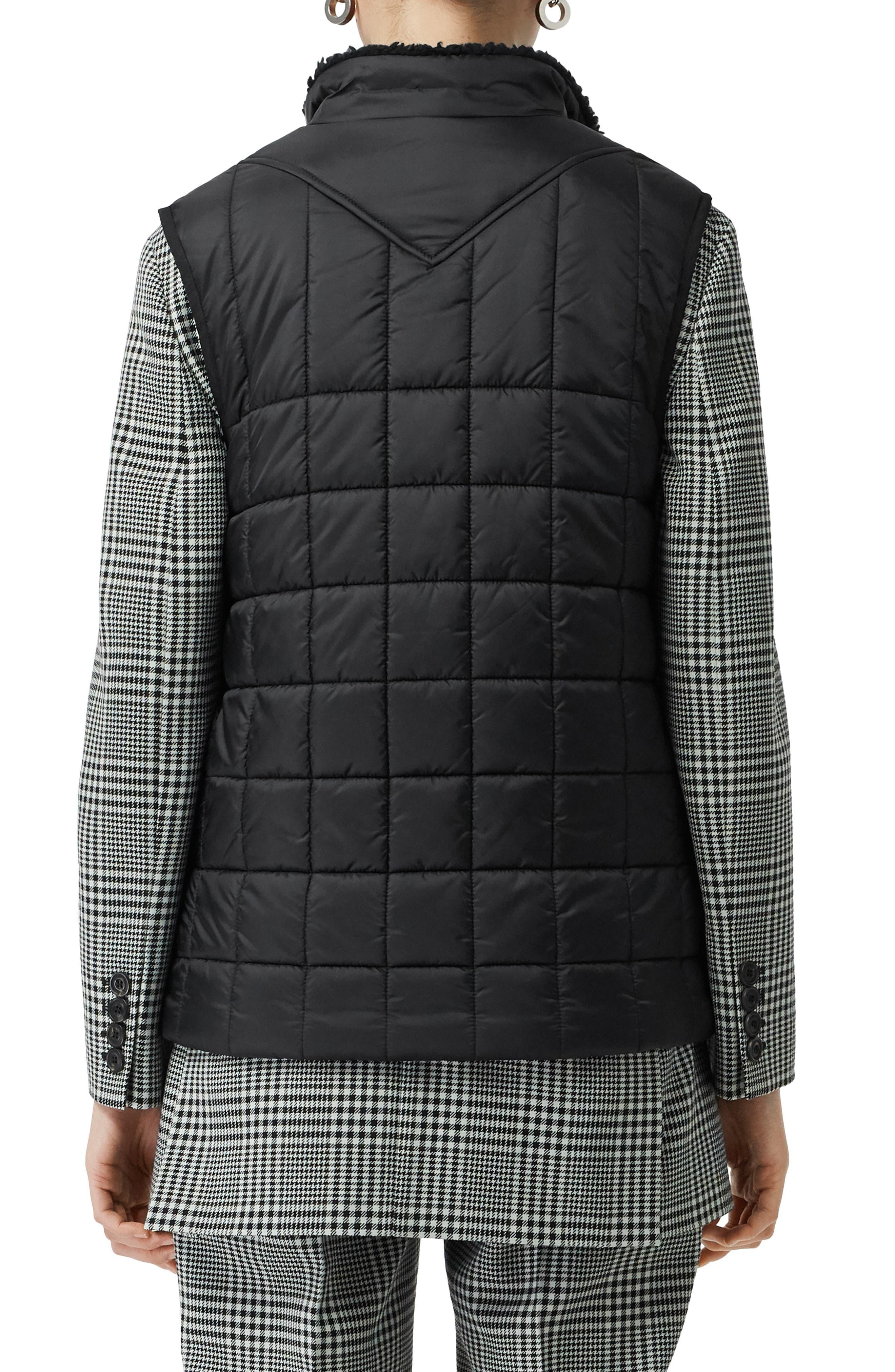 ,                             Leintune Faux Shearling Trim Quilted Vest,                             Alternate thumbnail 2, color,                             BLACK