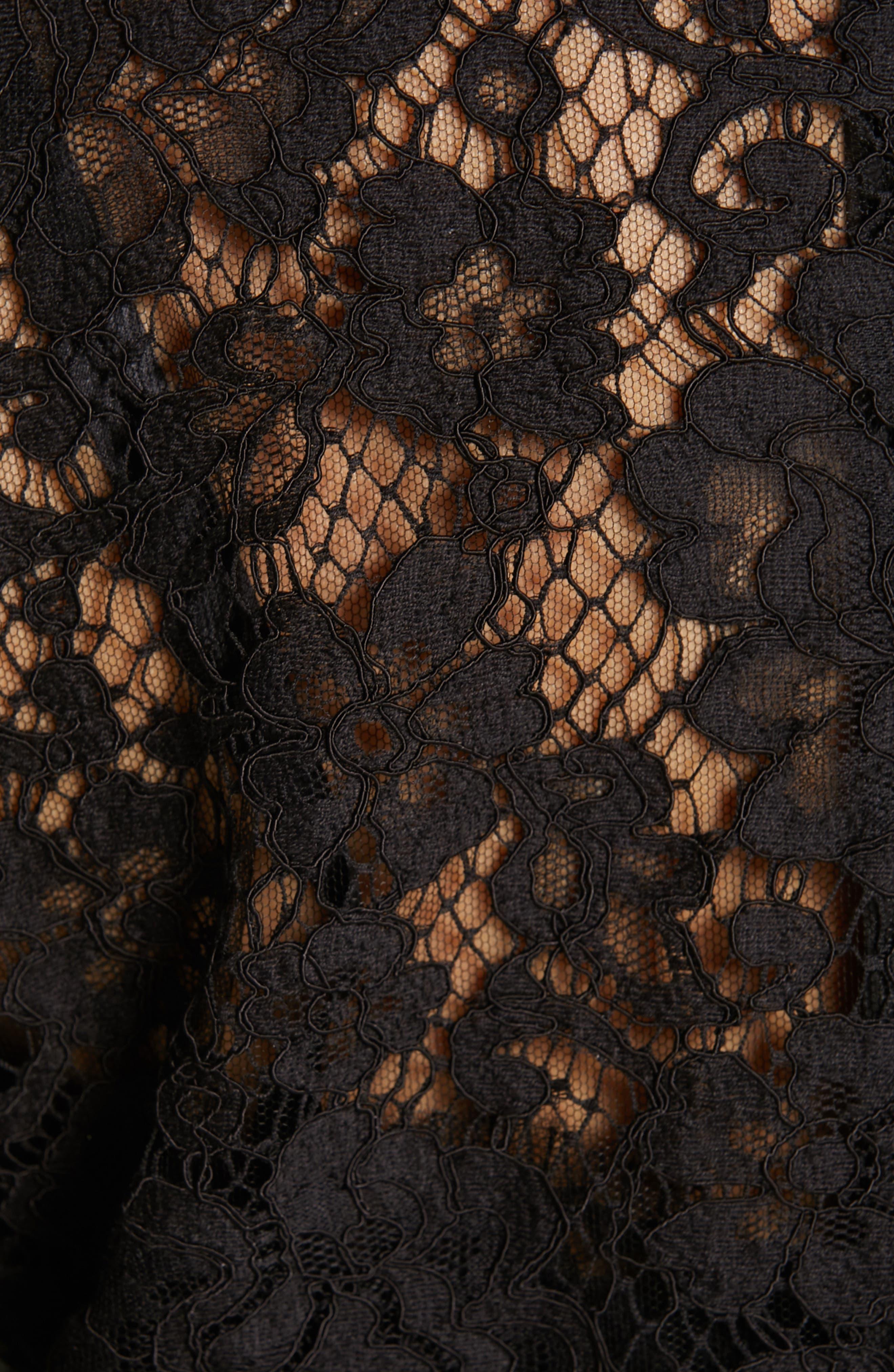 ,                             Lace Pencil Dress,                             Alternate thumbnail 6, color,                             BLACK