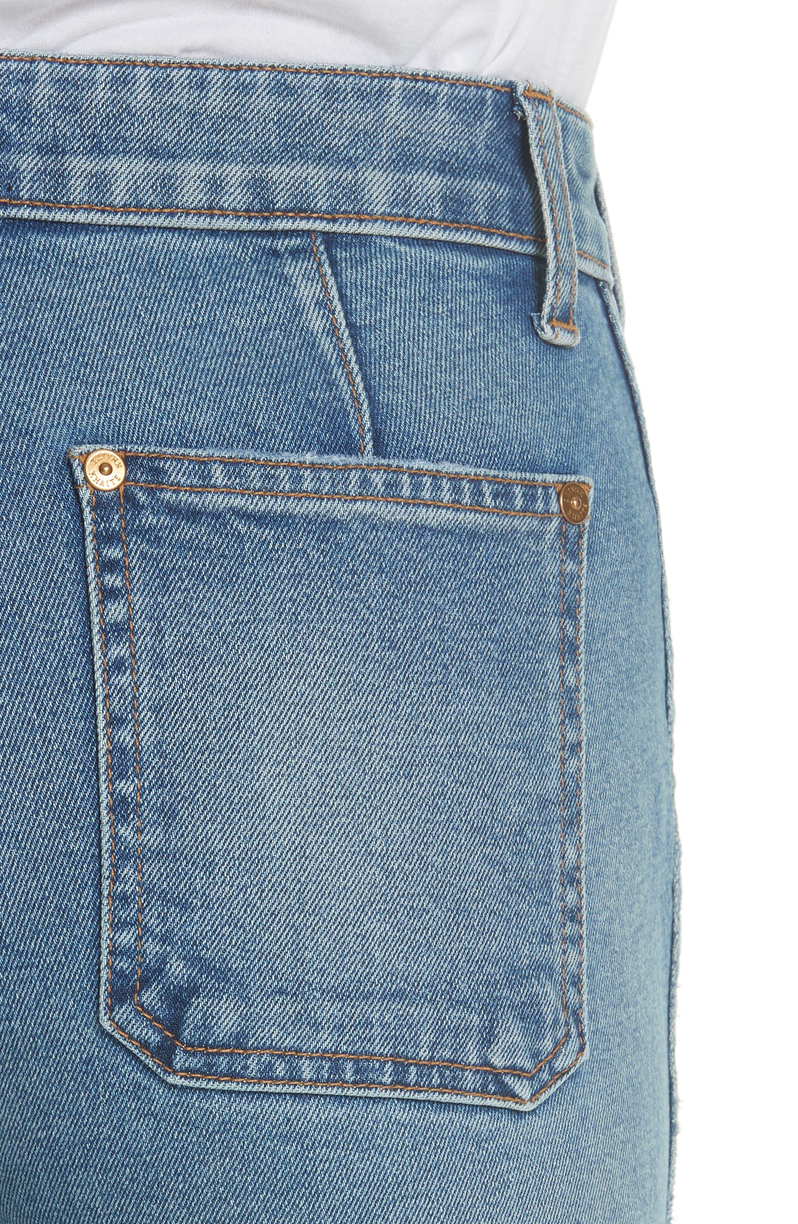 ,                             Raquel Crop Flare Jeans,                             Alternate thumbnail 4, color,                             VINTAGE BLUE
